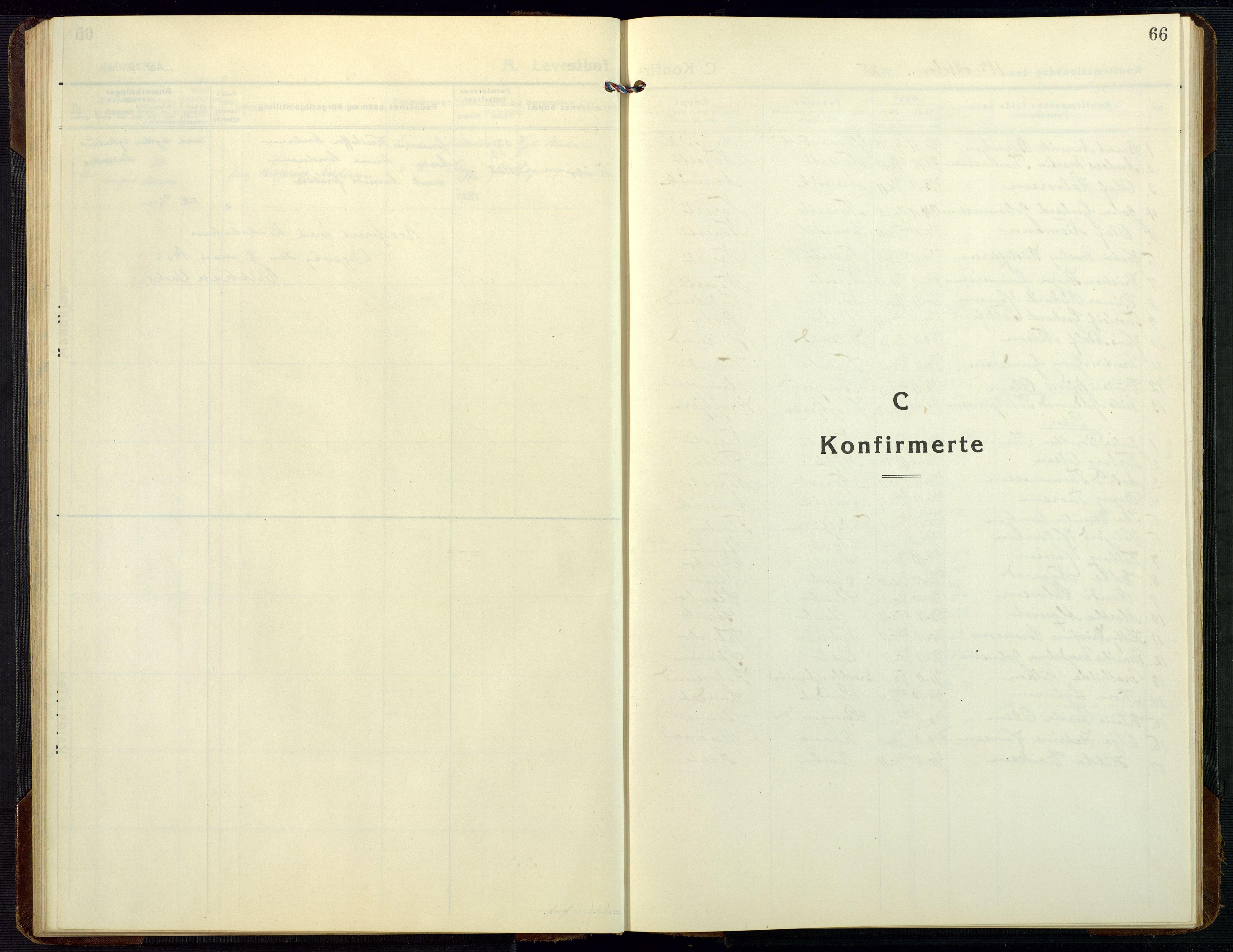 SAK, Dypvåg sokneprestkontor, F/Fb/Fbb/L0006: Klokkerbok nr. B 6, 1925-1954, s. 66