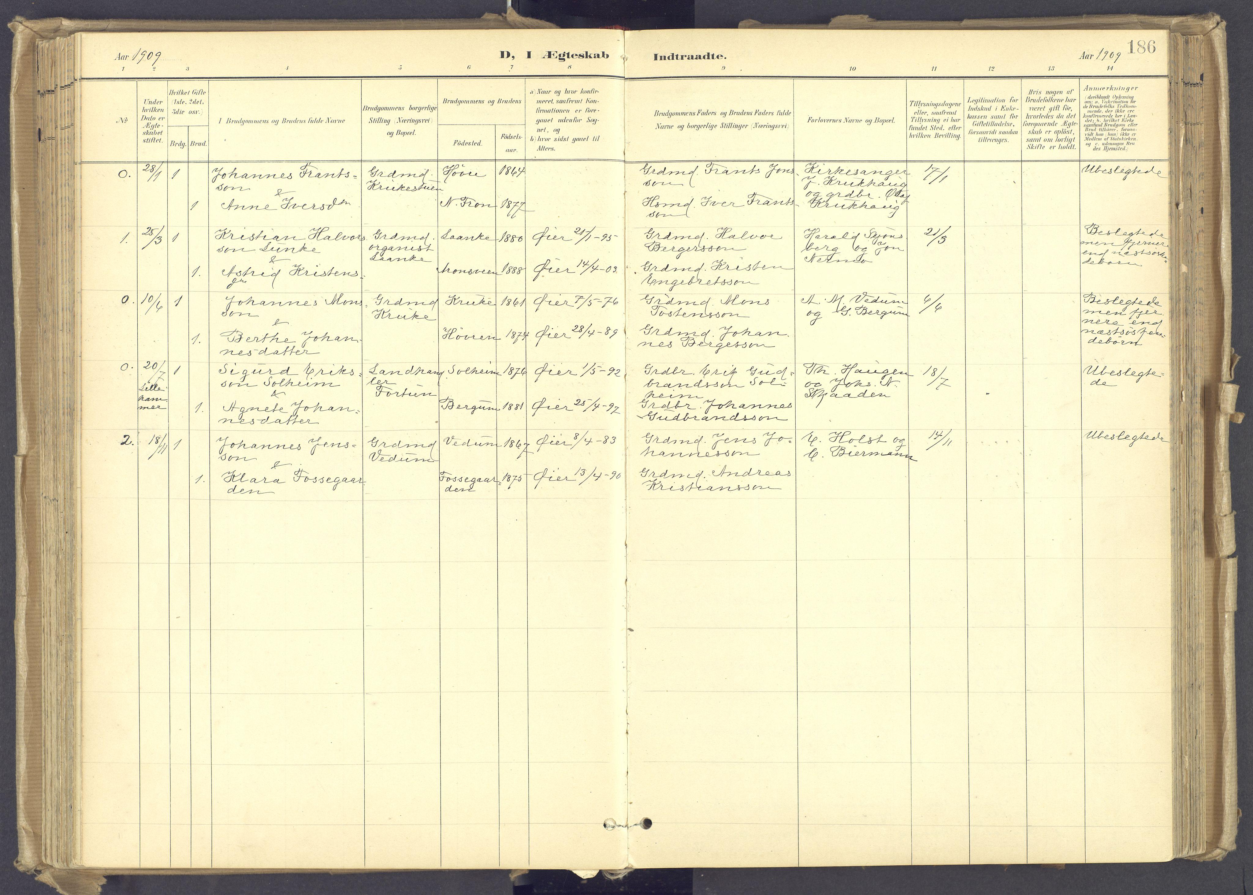 SAH, Øyer prestekontor, Ministerialbok nr. 12, 1897-1920, s. 186
