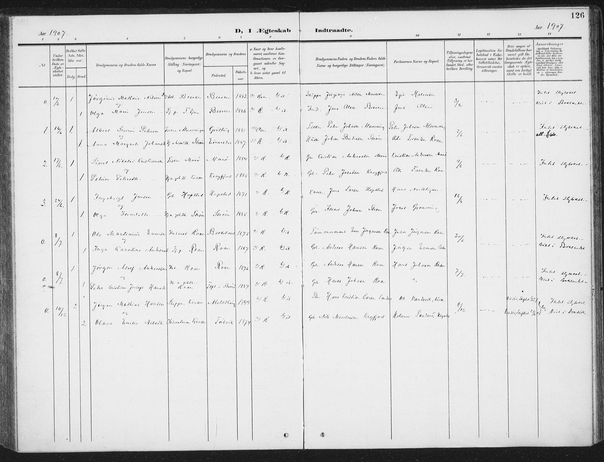 SAT, Ministerialprotokoller, klokkerbøker og fødselsregistre - Sør-Trøndelag, 657/L0709: Ministerialbok nr. 657A10, 1905-1919, s. 126