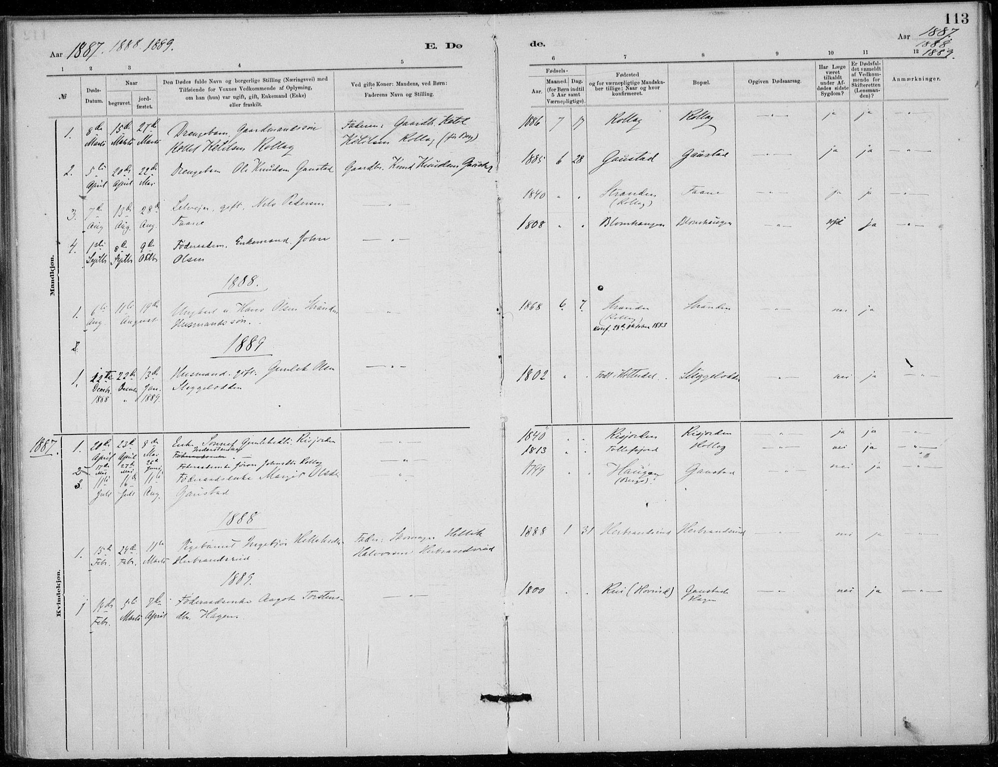 SAKO, Tinn kirkebøker, F/Fb/L0002: Ministerialbok nr. II 2, 1878-1917, s. 113