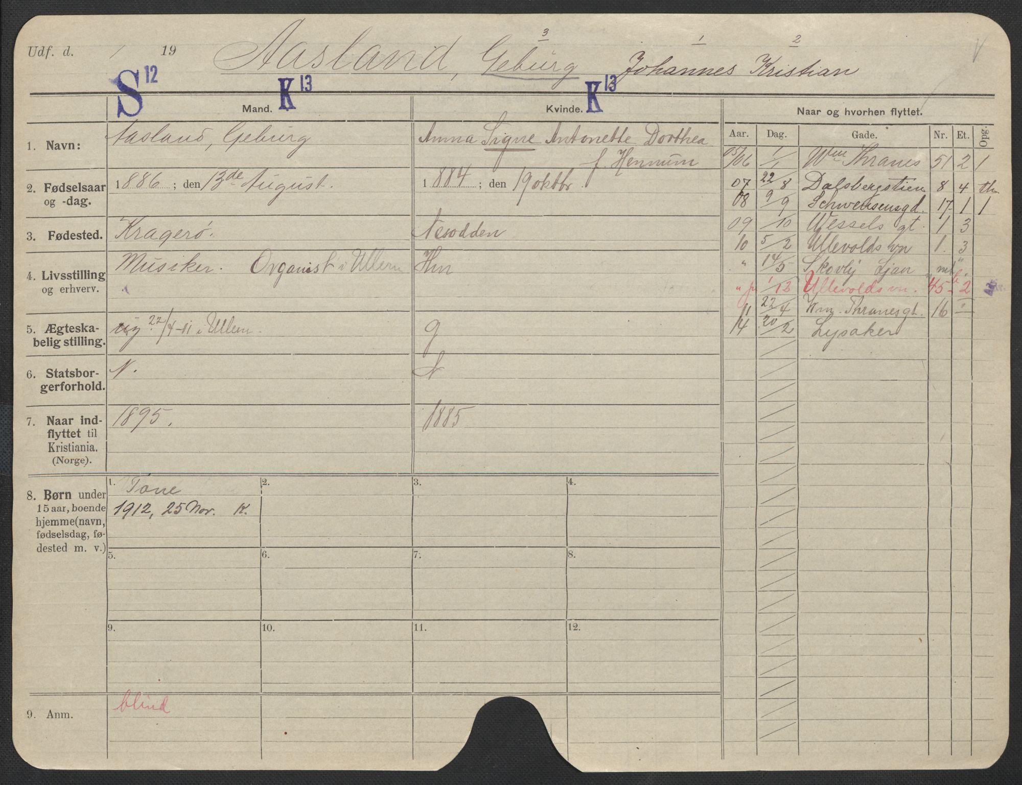 SAO, Oslo folkeregister, Registerkort, F/Fa/Fac/L0011: Menn, 1906-1914, s. 1251a