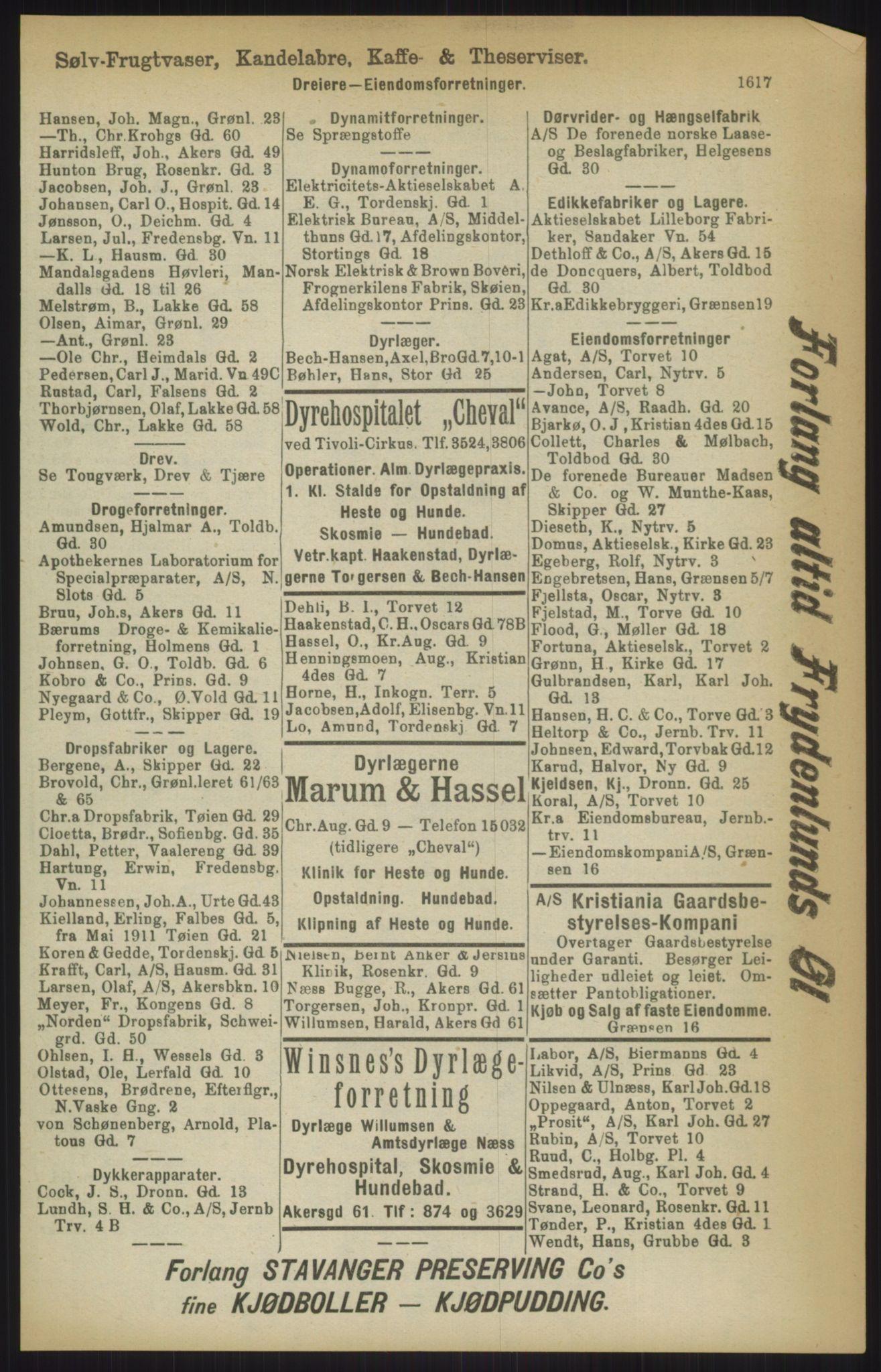 RA, Kristiania adressebok (publikasjon)*, 1911, s. 1617