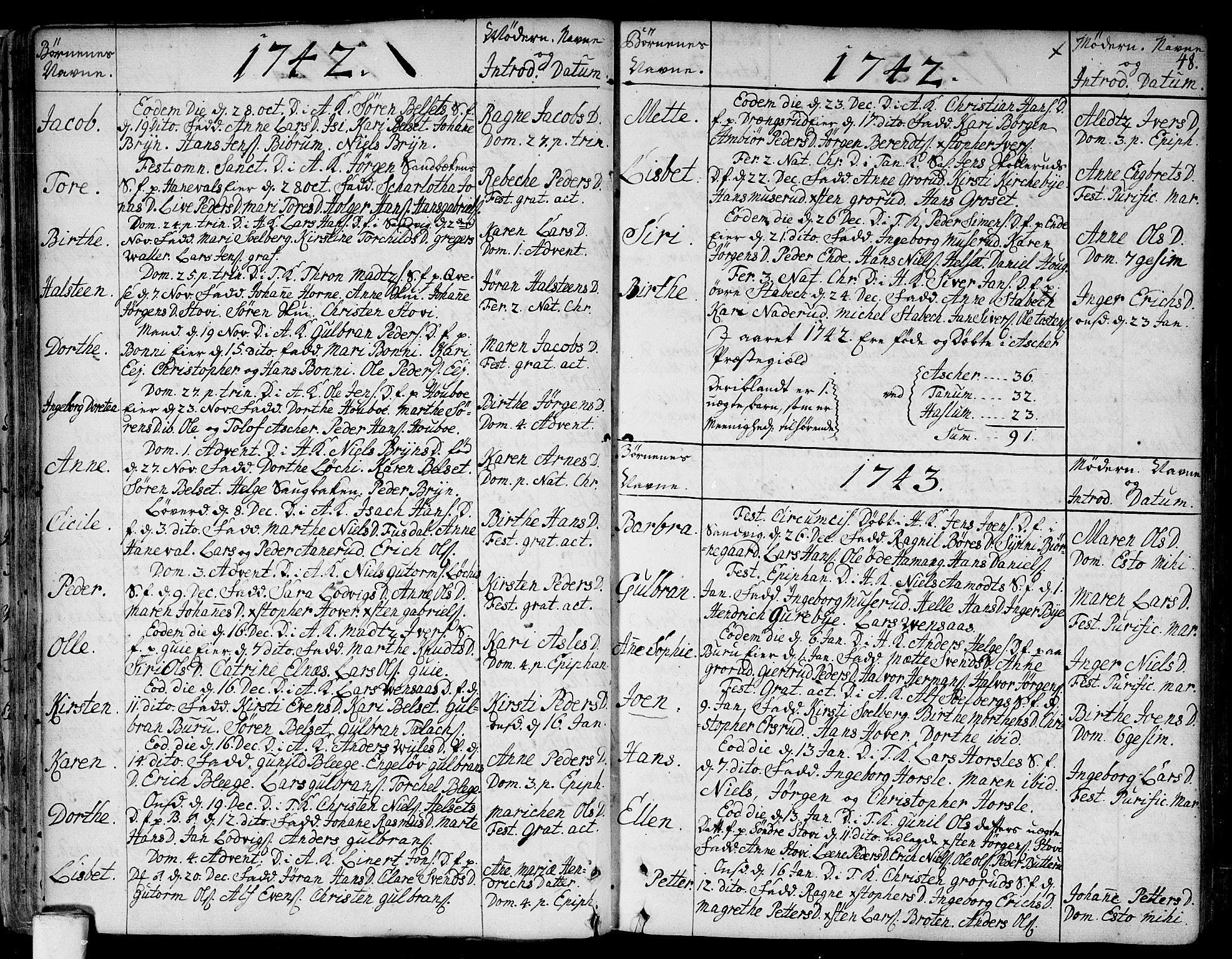SAO, Asker prestekontor Kirkebøker, F/Fa/L0002: Ministerialbok nr. I 2, 1733-1766, s. 48