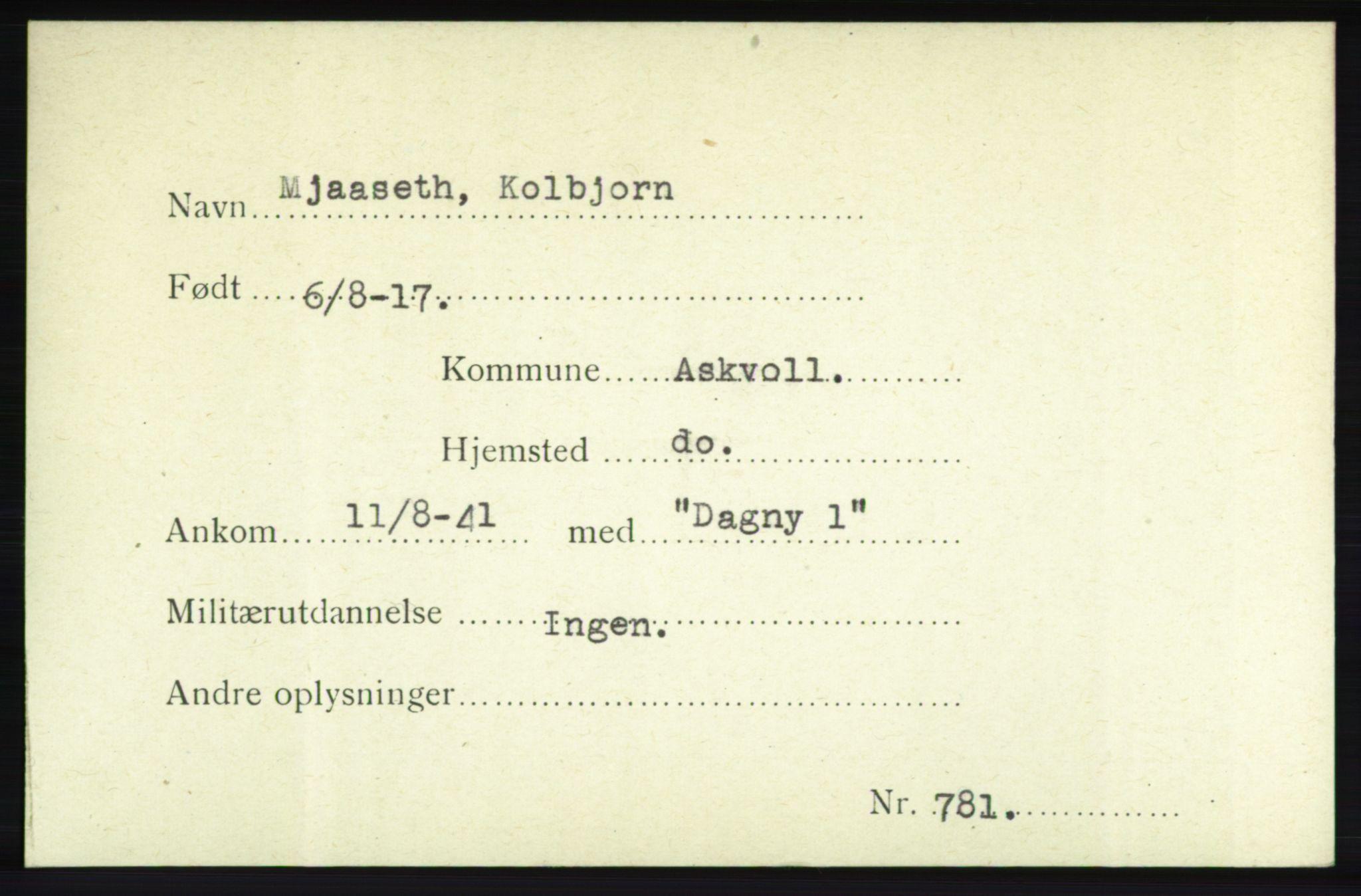 NHM, Forsvarets Overkommando. 2. kontor. Arkiv 8.1. Mottakersentralen FDE og FO.II, P/Pa/L0014: Kortsamling, 1940-1945, s. 2