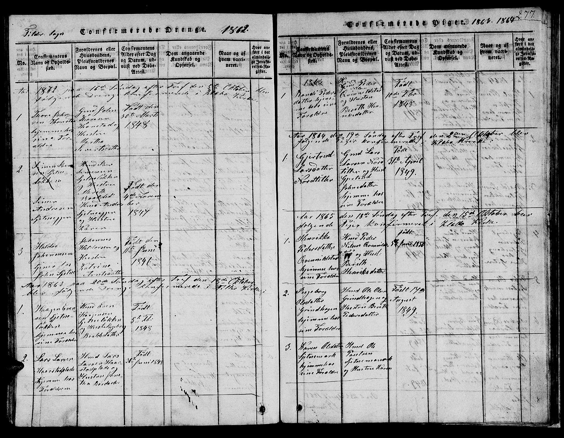 SAT, Ministerialprotokoller, klokkerbøker og fødselsregistre - Sør-Trøndelag, 621/L0458: Klokkerbok nr. 621C01, 1816-1865, s. 277