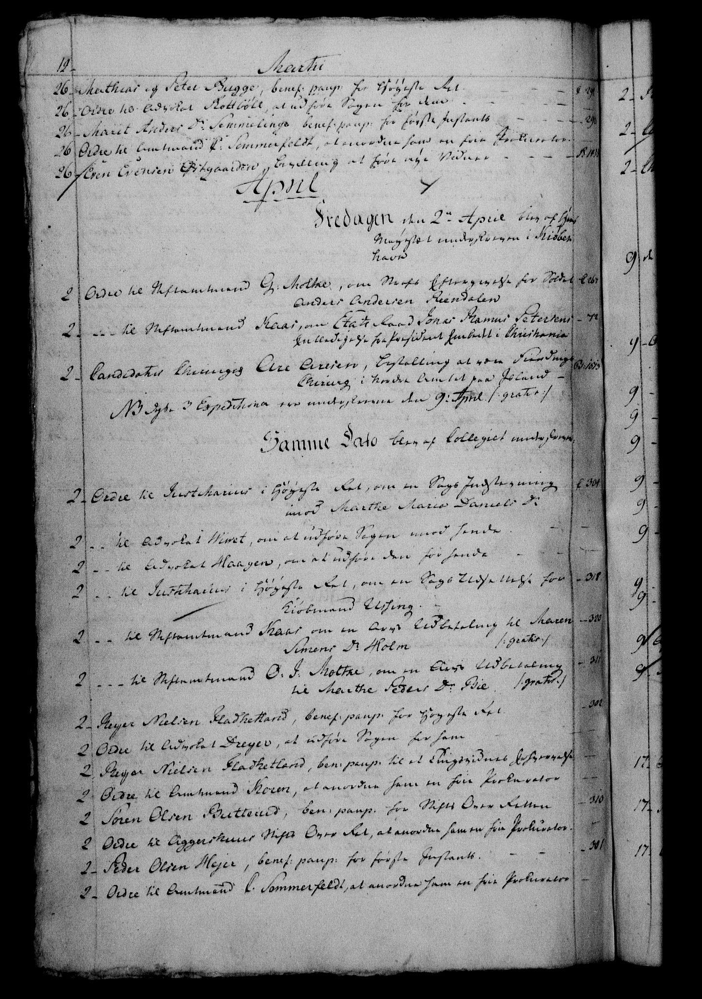 RA, Danske Kanselli 1800-1814, H/Hf/Hfb/Hfbc/L0003: Underskrivelsesbok m. register, 1802, s. 12