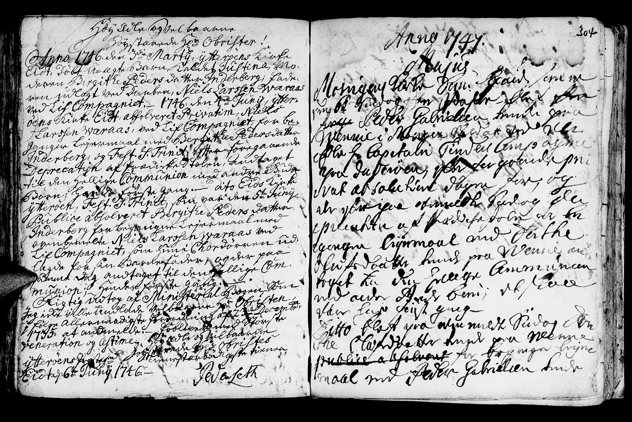 SAT, Ministerialprotokoller, klokkerbøker og fødselsregistre - Nord-Trøndelag, 722/L0215: Ministerialbok nr. 722A02, 1718-1755, s. 304