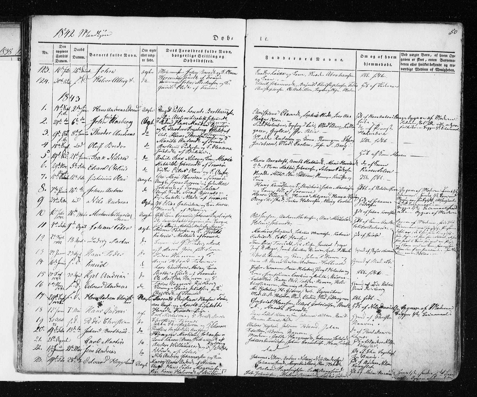 SATØ, Tromsø sokneprestkontor/stiftsprosti/domprosti, G/Ga/L0009kirke: Ministerialbok nr. 9, 1837-1847, s. 50