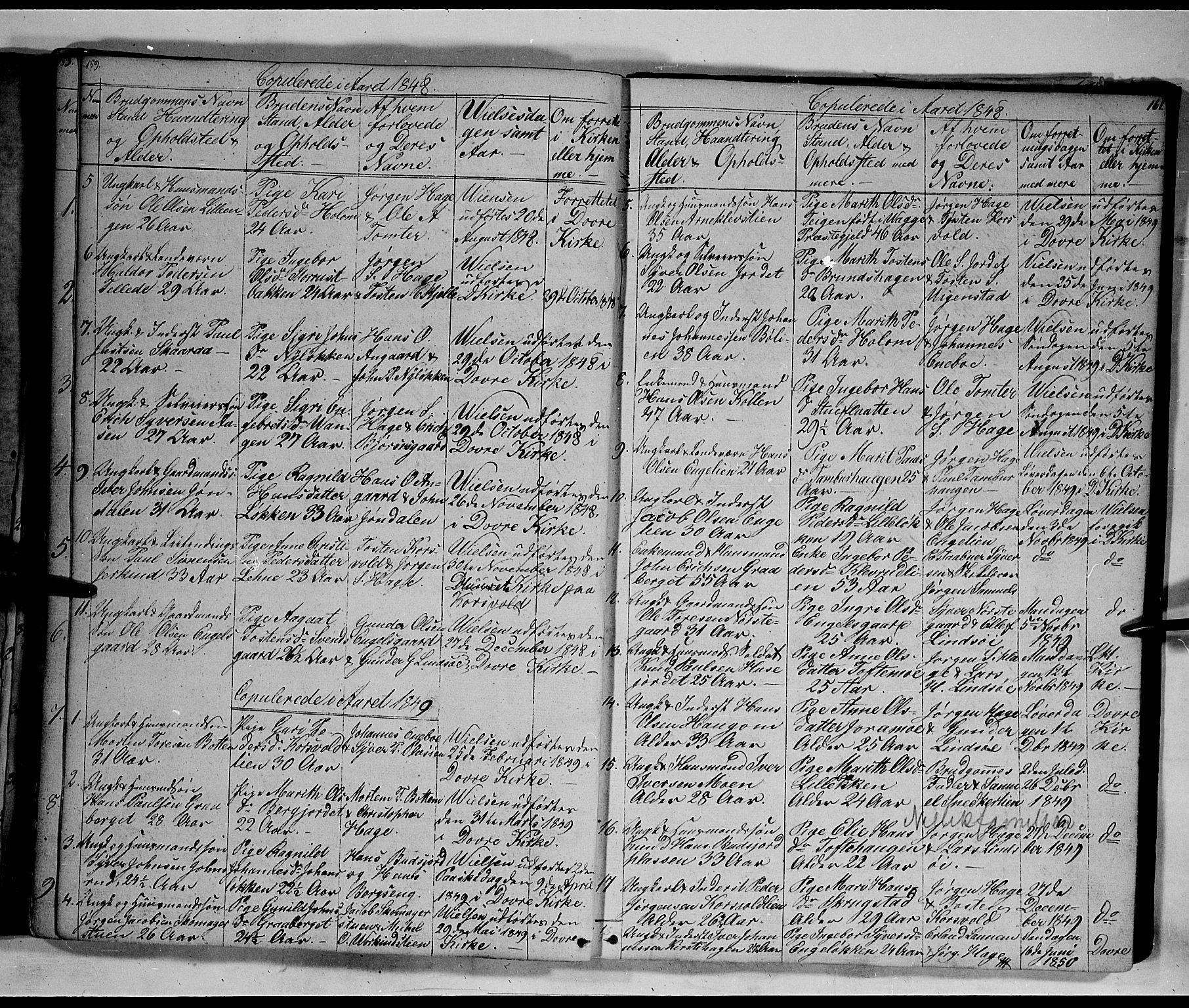 SAH, Lesja prestekontor, Klokkerbok nr. 3, 1842-1862, s. 159-160