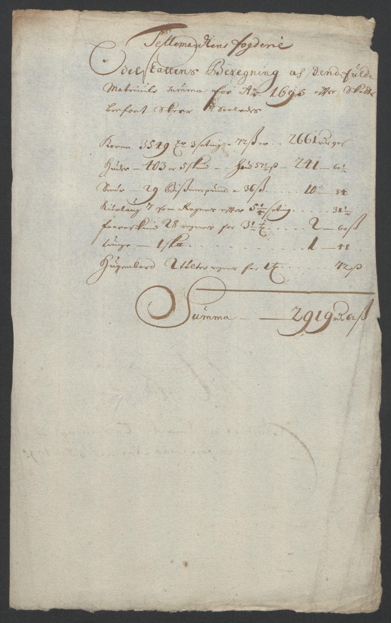 RA, Rentekammeret inntil 1814, Reviderte regnskaper, Fogderegnskap, R36/L2093: Fogderegnskap Øvre og Nedre Telemark og Bamble, 1695, s. 289