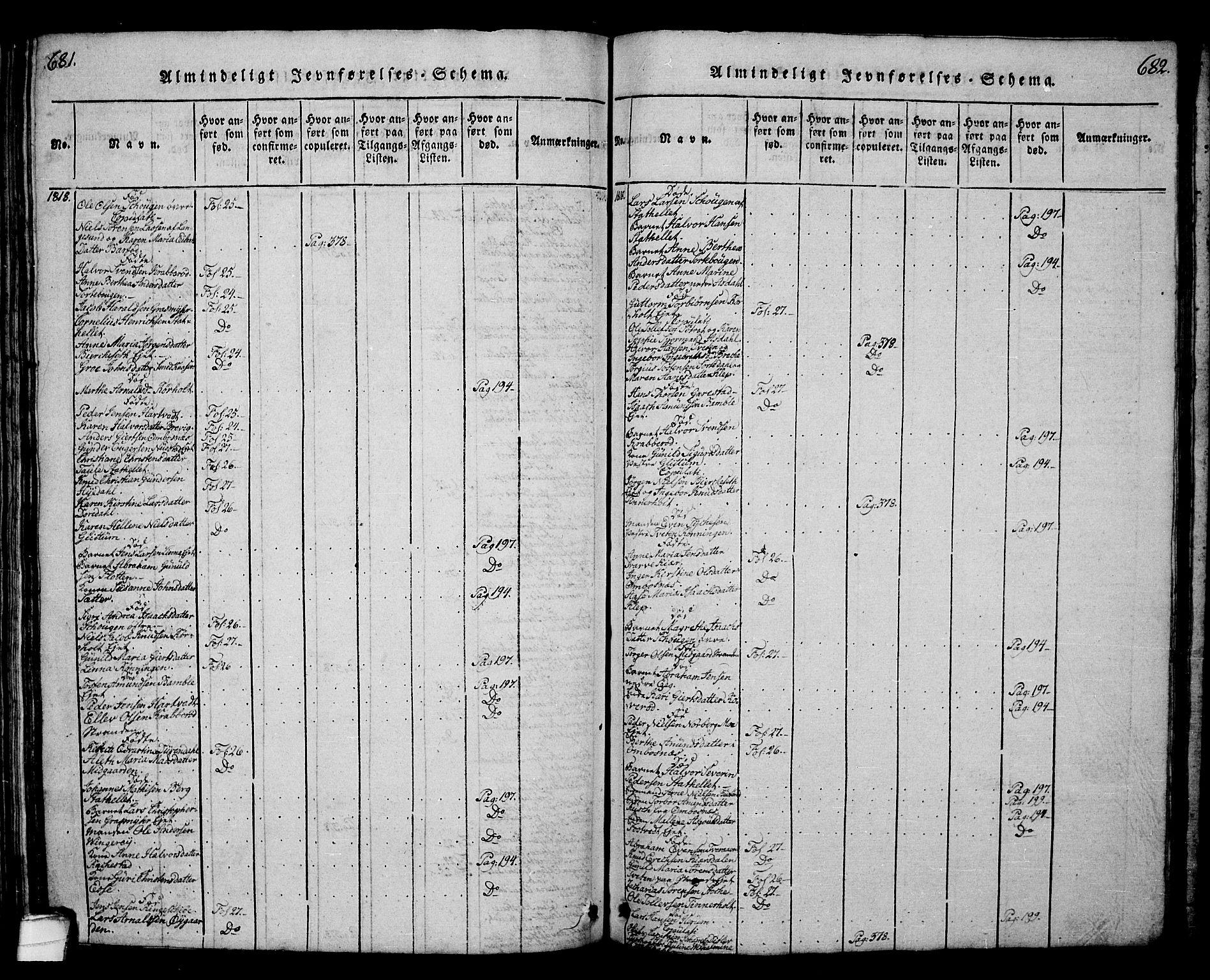 SAKO, Bamble kirkebøker, G/Ga/L0005: Klokkerbok nr. I 5, 1814-1855, s. 681-682