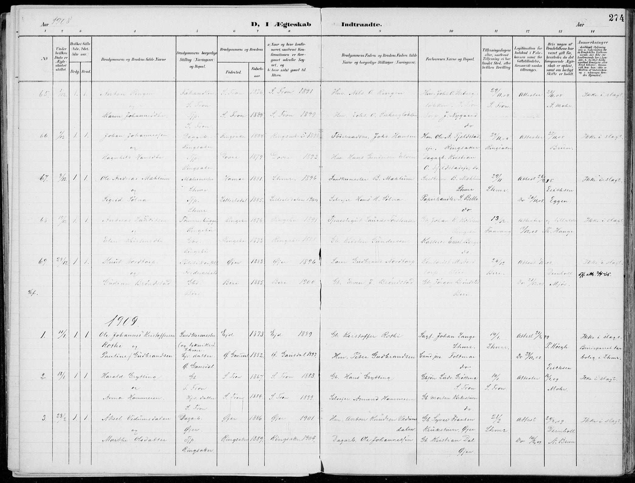 SAH, Lillehammer prestekontor, Ministerialbok nr. 1, 1901-1916, s. 274