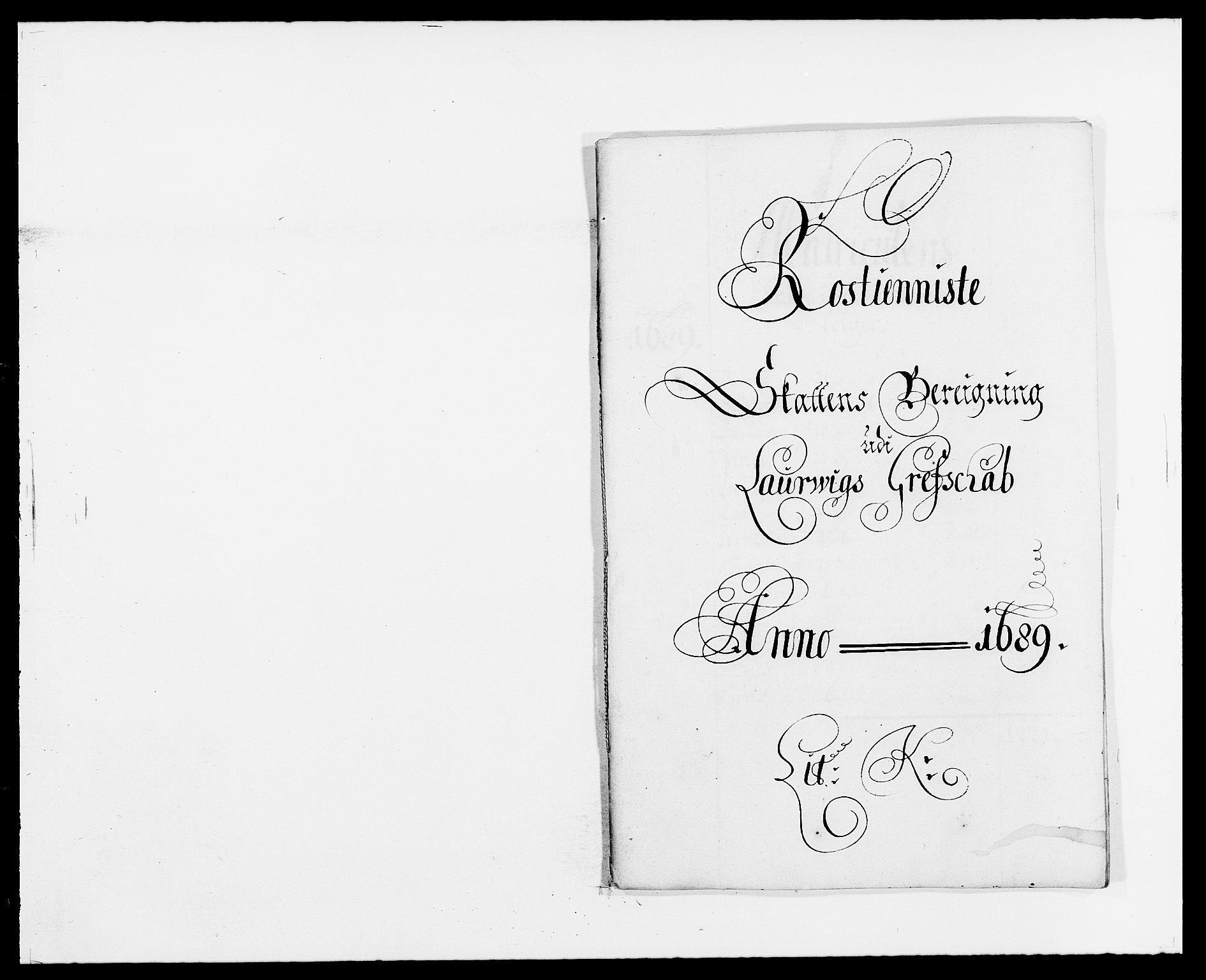 RA, Rentekammeret inntil 1814, Reviderte regnskaper, Fogderegnskap, R33/L1971: Fogderegnskap Larvik grevskap, 1688-1689, s. 291