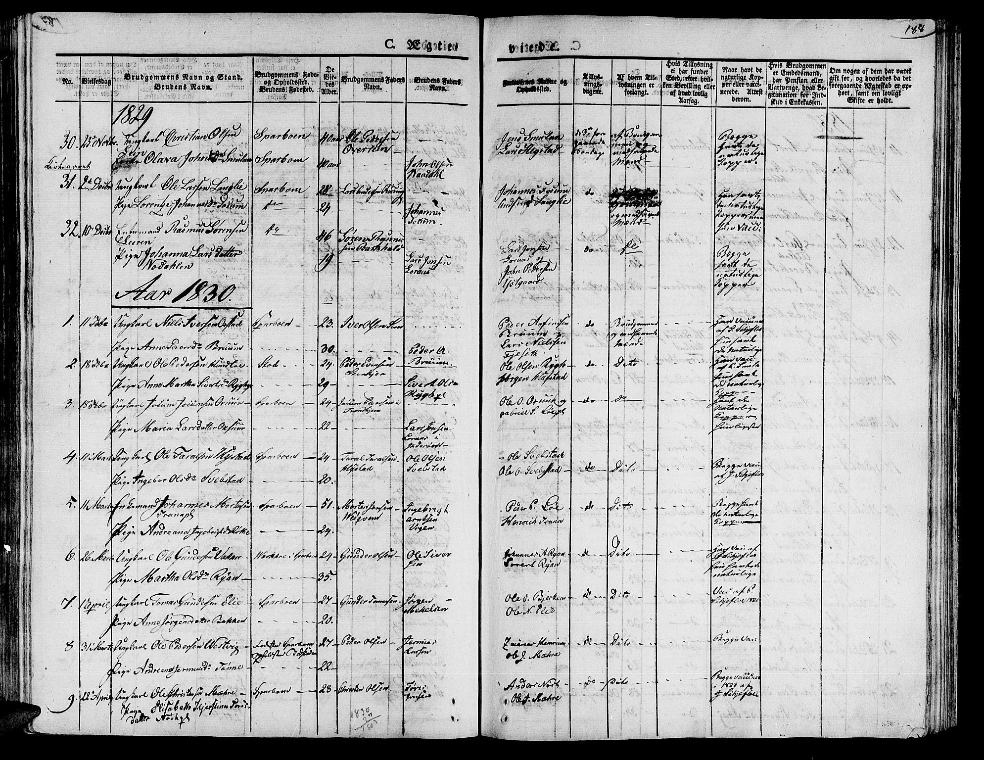 SAT, Ministerialprotokoller, klokkerbøker og fødselsregistre - Nord-Trøndelag, 735/L0336: Ministerialbok nr. 735A05 /1, 1825-1835, s. 188