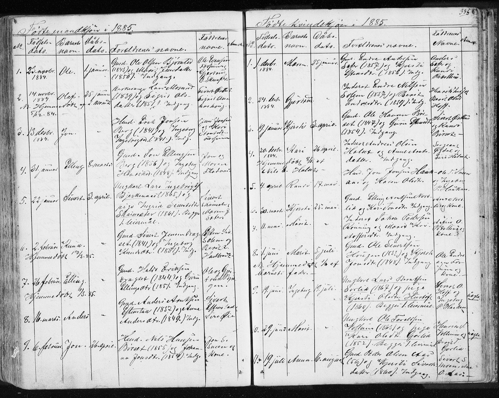 SAT, Ministerialprotokoller, klokkerbøker og fødselsregistre - Sør-Trøndelag, 689/L1043: Klokkerbok nr. 689C02, 1816-1892, s. 335