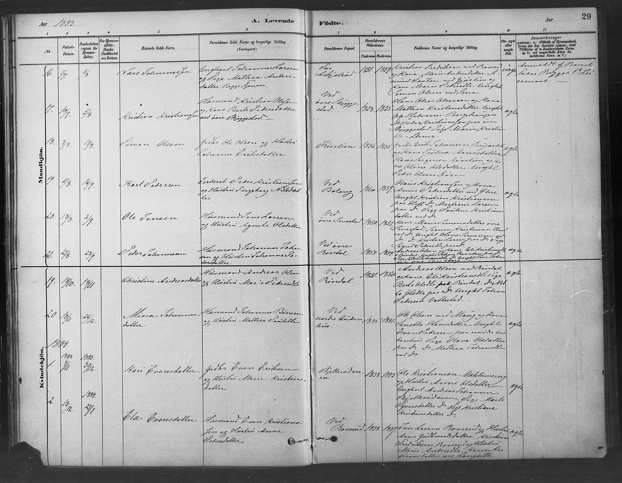 SAH, Fåberg prestekontor, Ministerialbok nr. 9, 1879-1898, s. 29