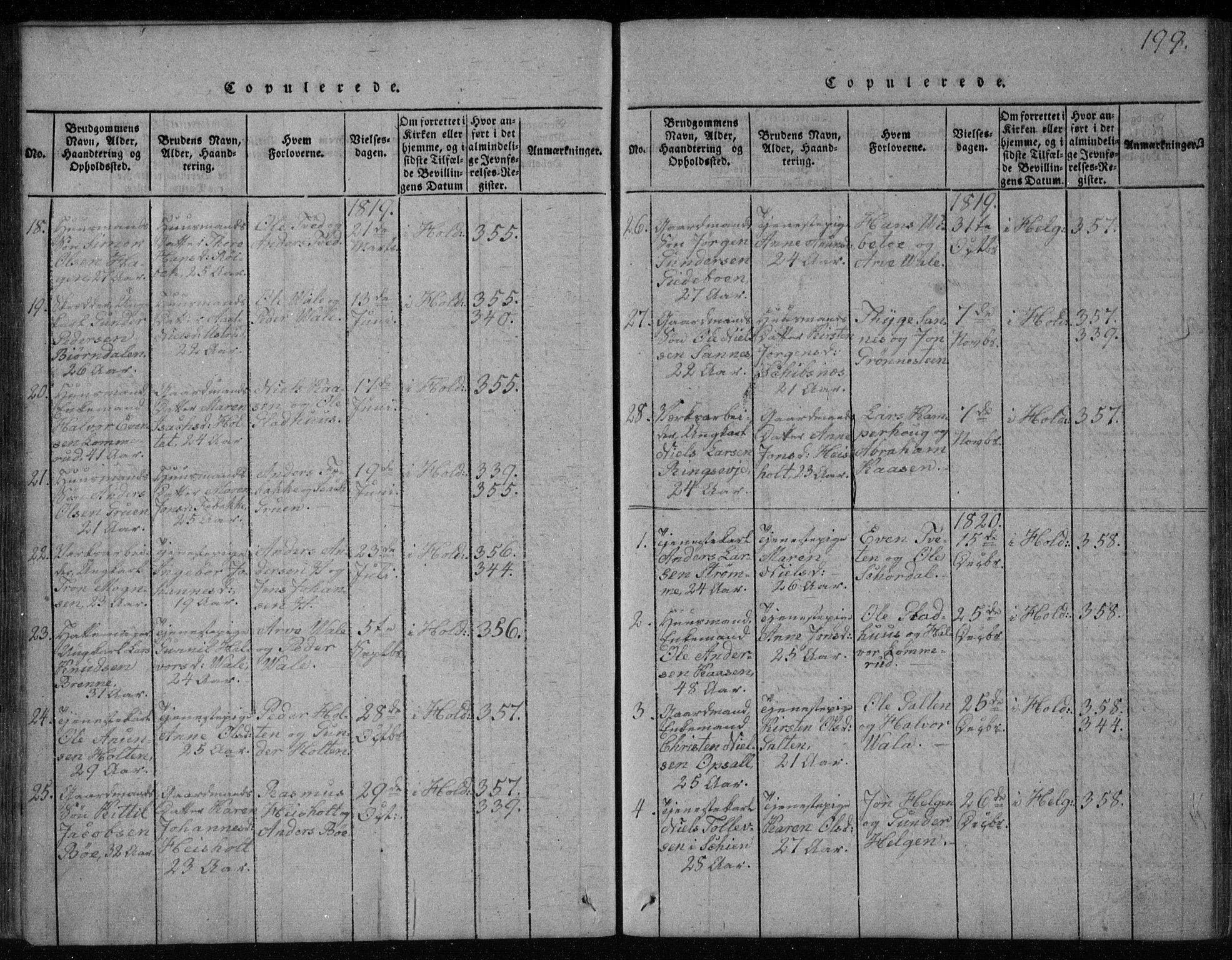 SAKO, Holla kirkebøker, F/Fa/L0003: Ministerialbok nr. 3, 1815-1830, s. 199