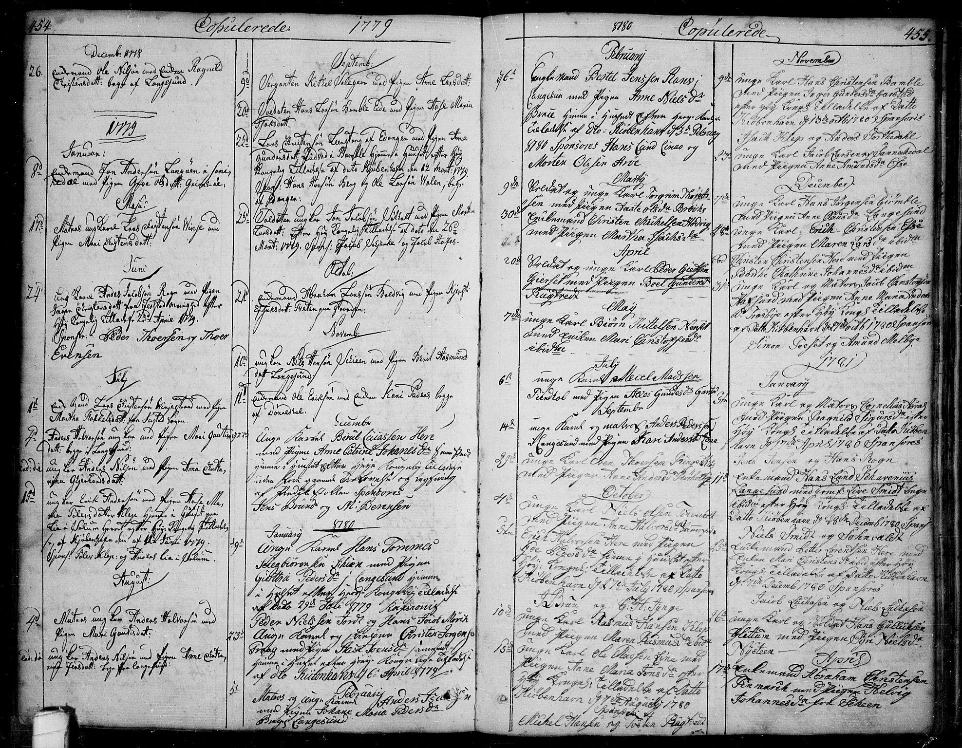 SAKO, Bamble kirkebøker, F/Fa/L0002: Ministerialbok nr. I 2, 1775-1814, s. 454-455