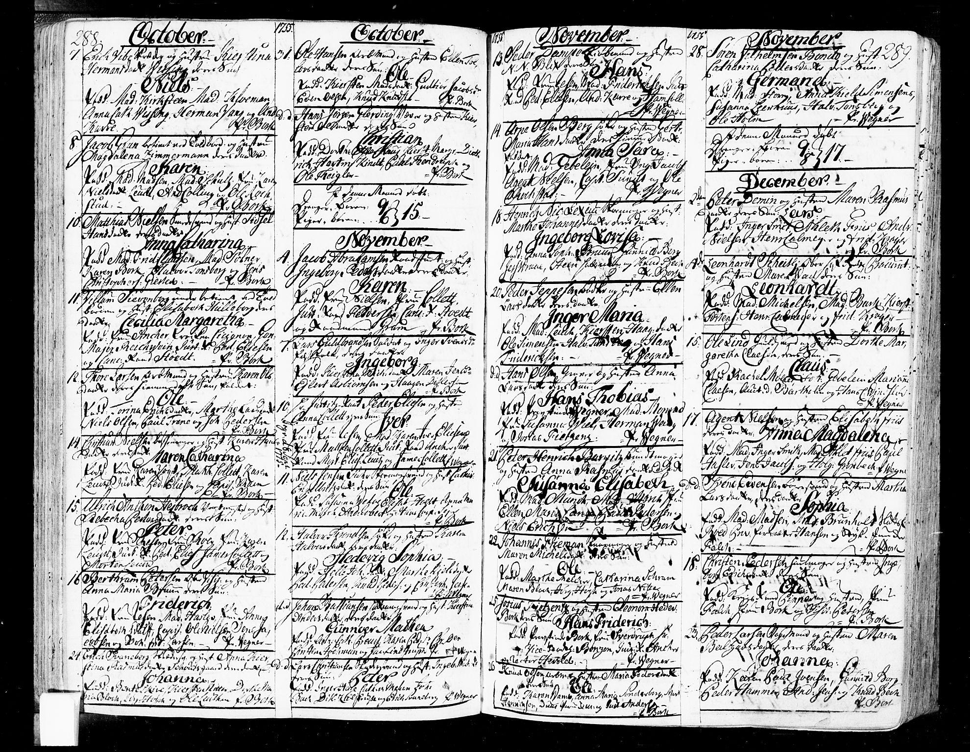 SAO, Oslo domkirke Kirkebøker, F/Fa/L0004: Ministerialbok nr. 4, 1743-1786, s. 288-289