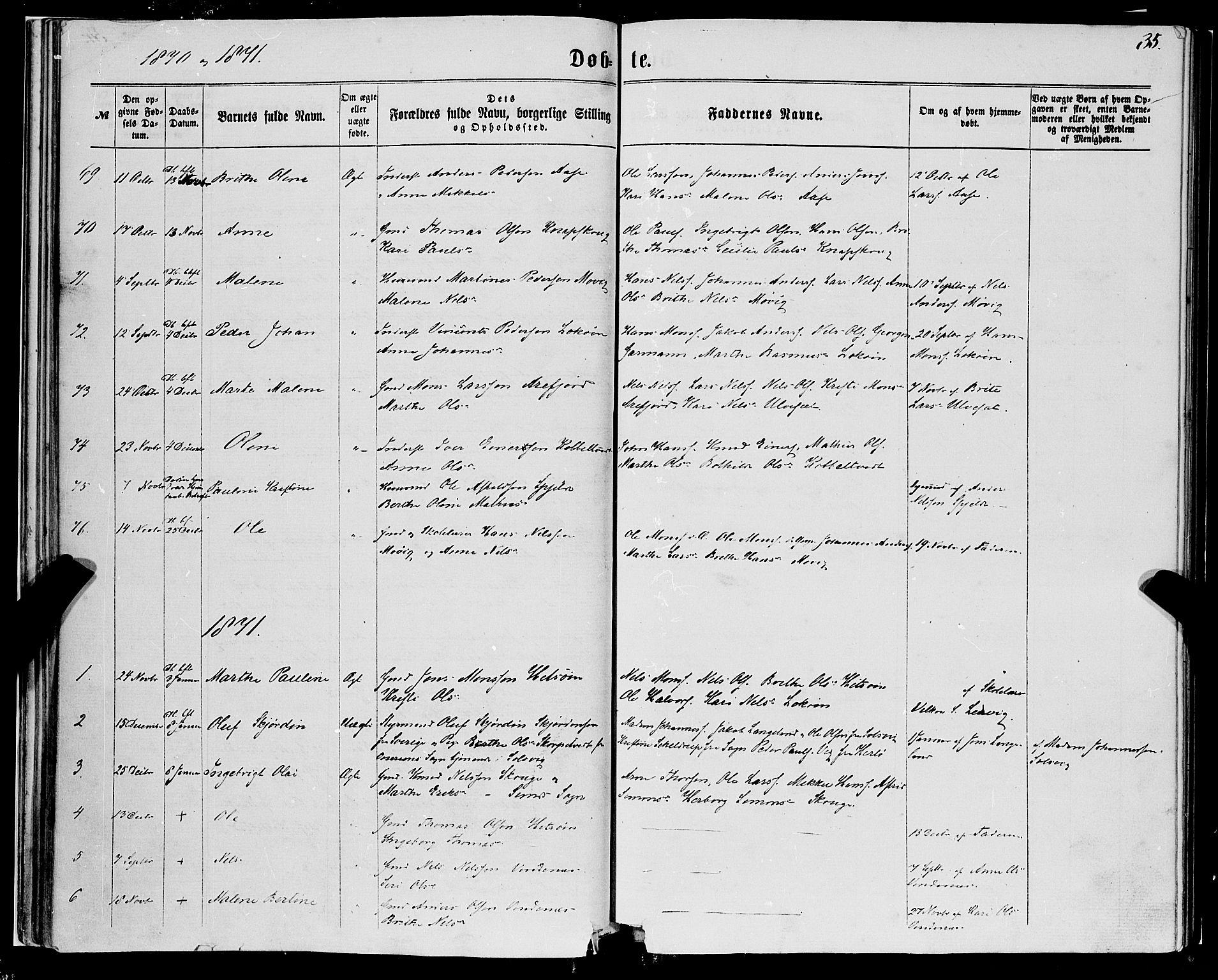 SAB, Fjell sokneprestembete, H/Haa: Ministerialbok nr. A 3, 1864-1877, s. 35