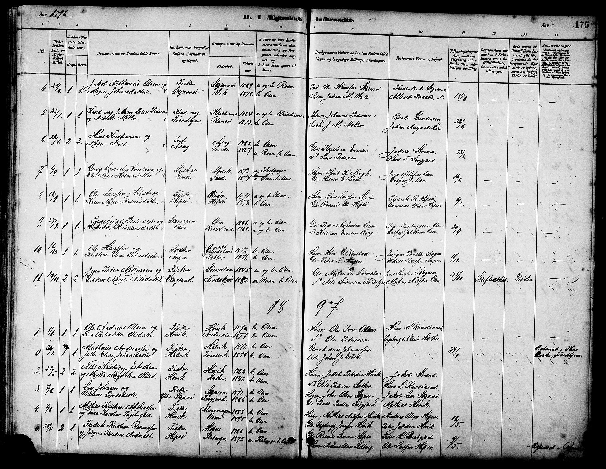 SAT, Ministerialprotokoller, klokkerbøker og fødselsregistre - Sør-Trøndelag, 658/L0726: Klokkerbok nr. 658C02, 1883-1908, s. 175
