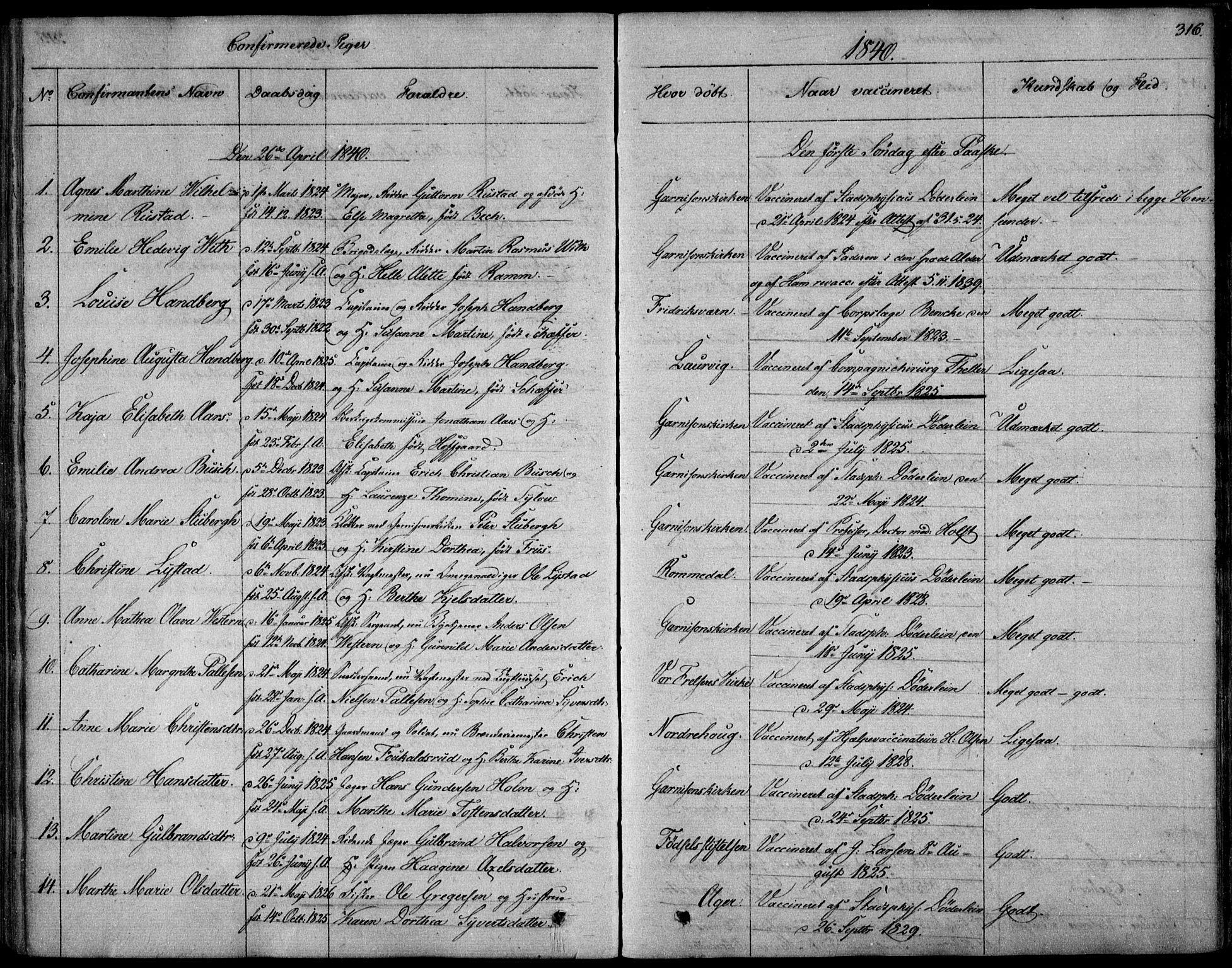 SAO, Garnisonsmenigheten Kirkebøker, F/Fa/L0006: Ministerialbok nr. 6, 1828-1841, s. 316