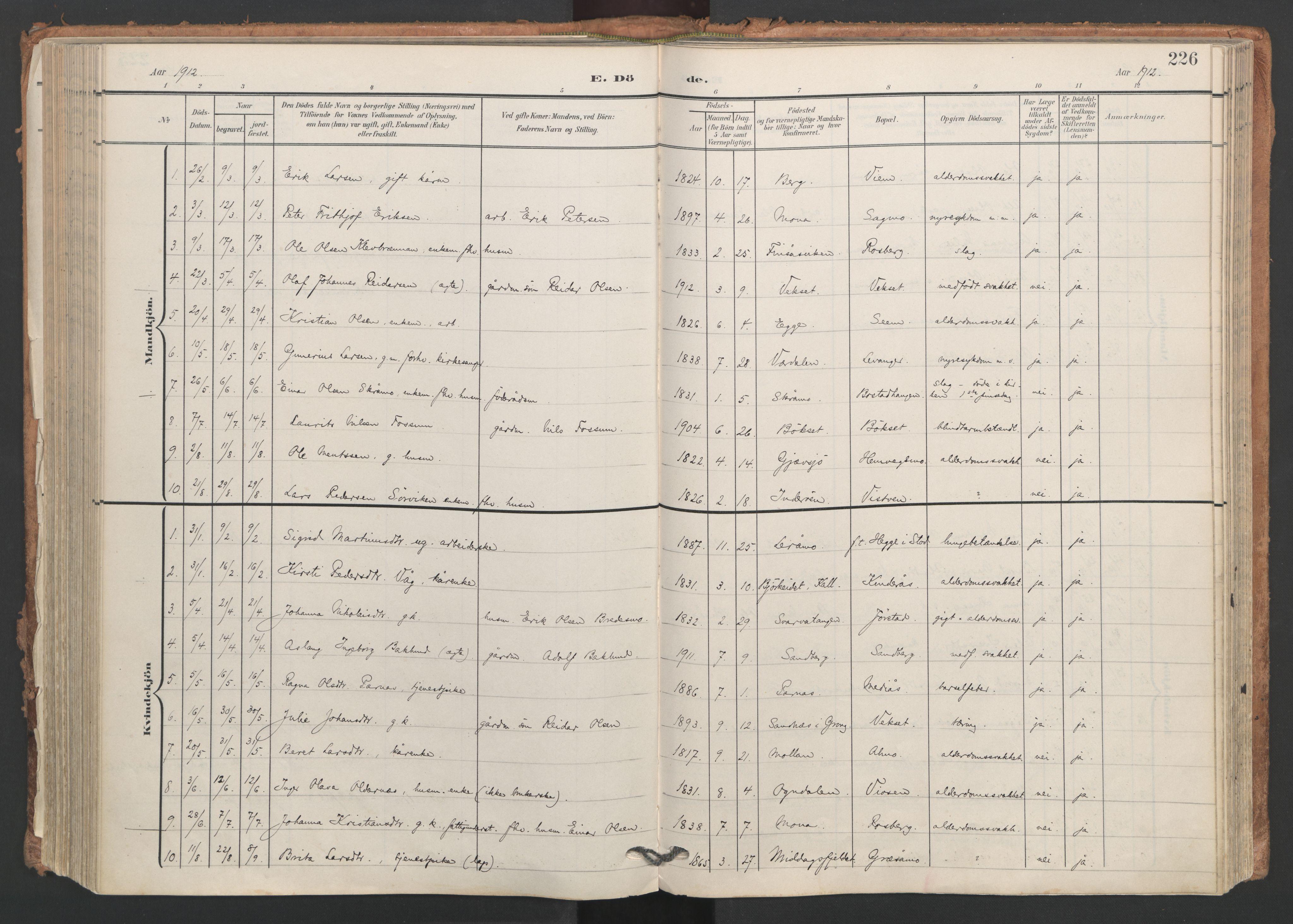SAT, Ministerialprotokoller, klokkerbøker og fødselsregistre - Nord-Trøndelag, 749/L0477: Ministerialbok nr. 749A11, 1902-1927, s. 226