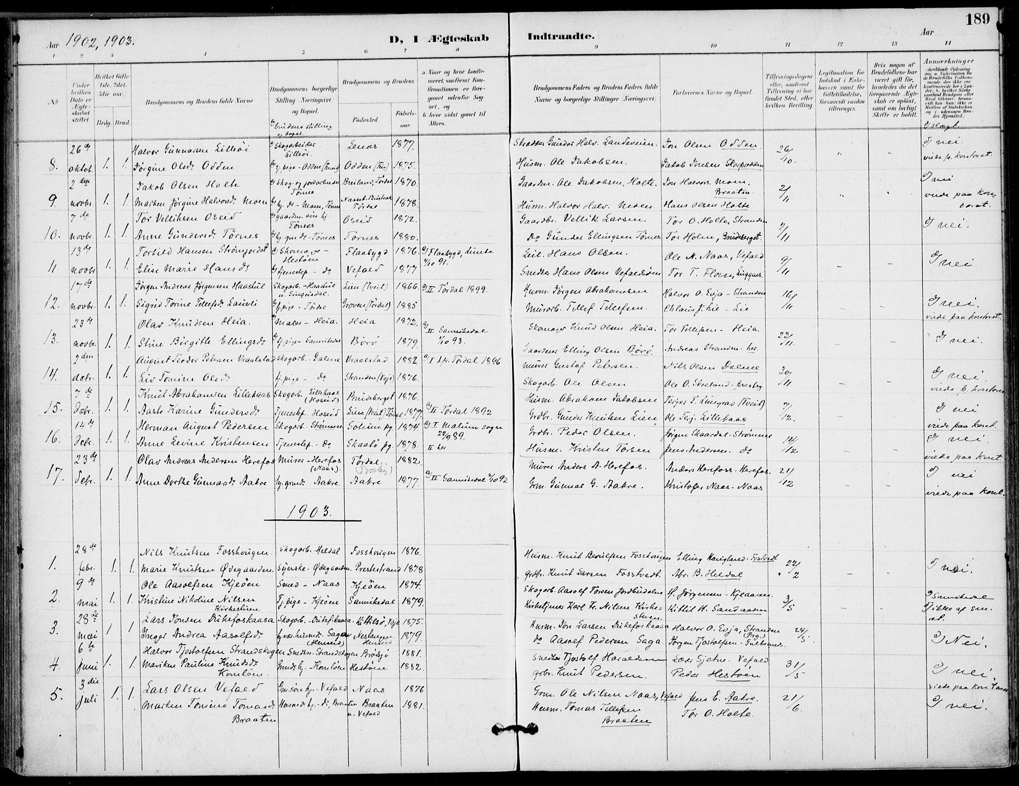 SAKO, Drangedal kirkebøker, F/Fa/L0012: Ministerialbok nr. 12, 1895-1905, s. 189