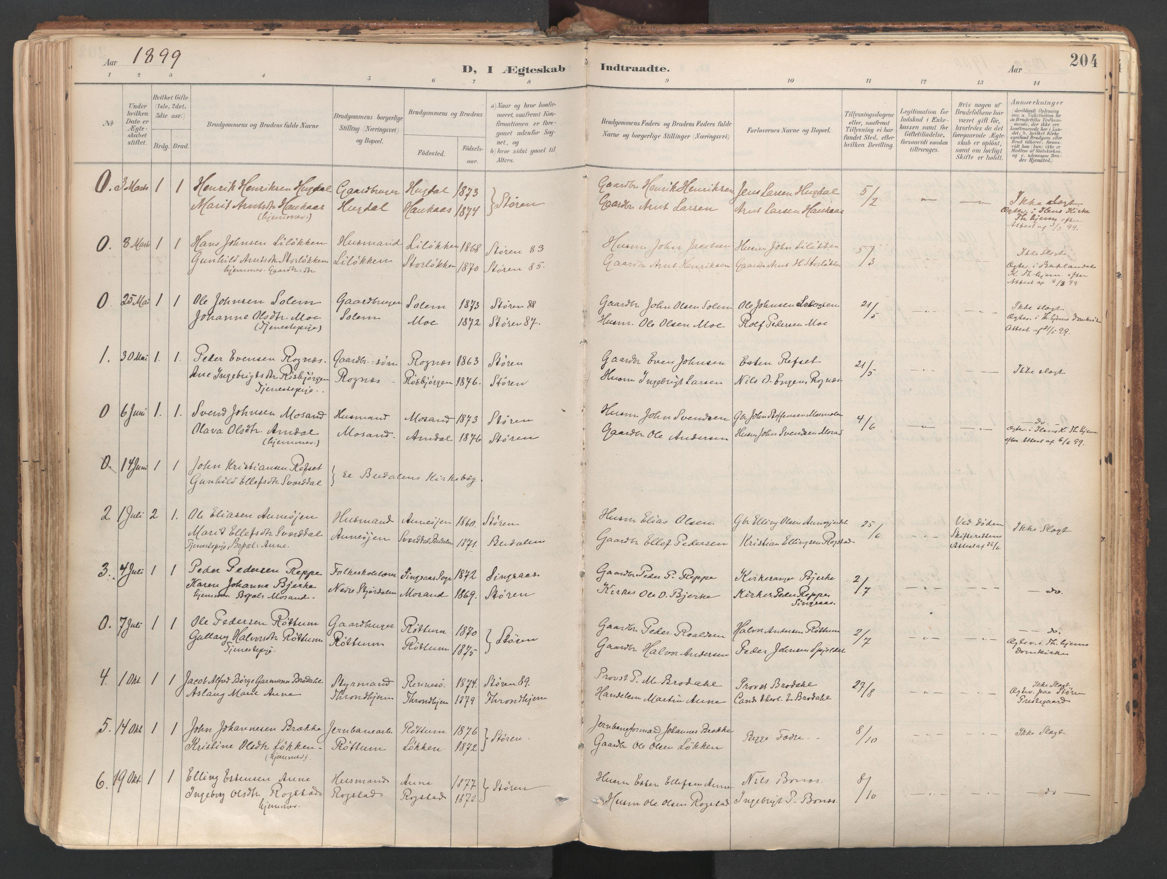 SAT, Ministerialprotokoller, klokkerbøker og fødselsregistre - Sør-Trøndelag, 687/L1004: Ministerialbok nr. 687A10, 1891-1923, s. 204