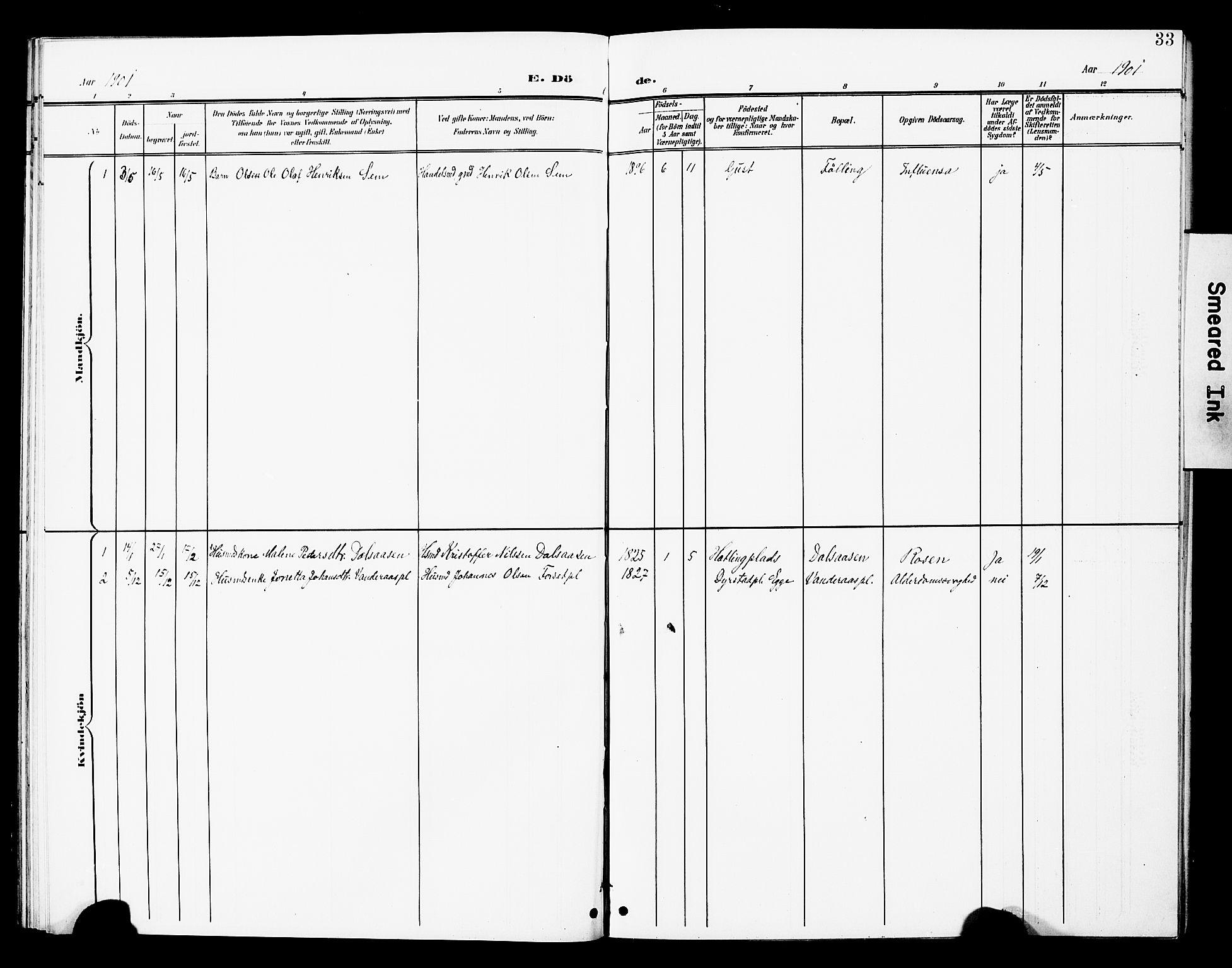 SAT, Ministerialprotokoller, klokkerbøker og fødselsregistre - Nord-Trøndelag, 748/L0464: Ministerialbok nr. 748A01, 1900-1908, s. 33