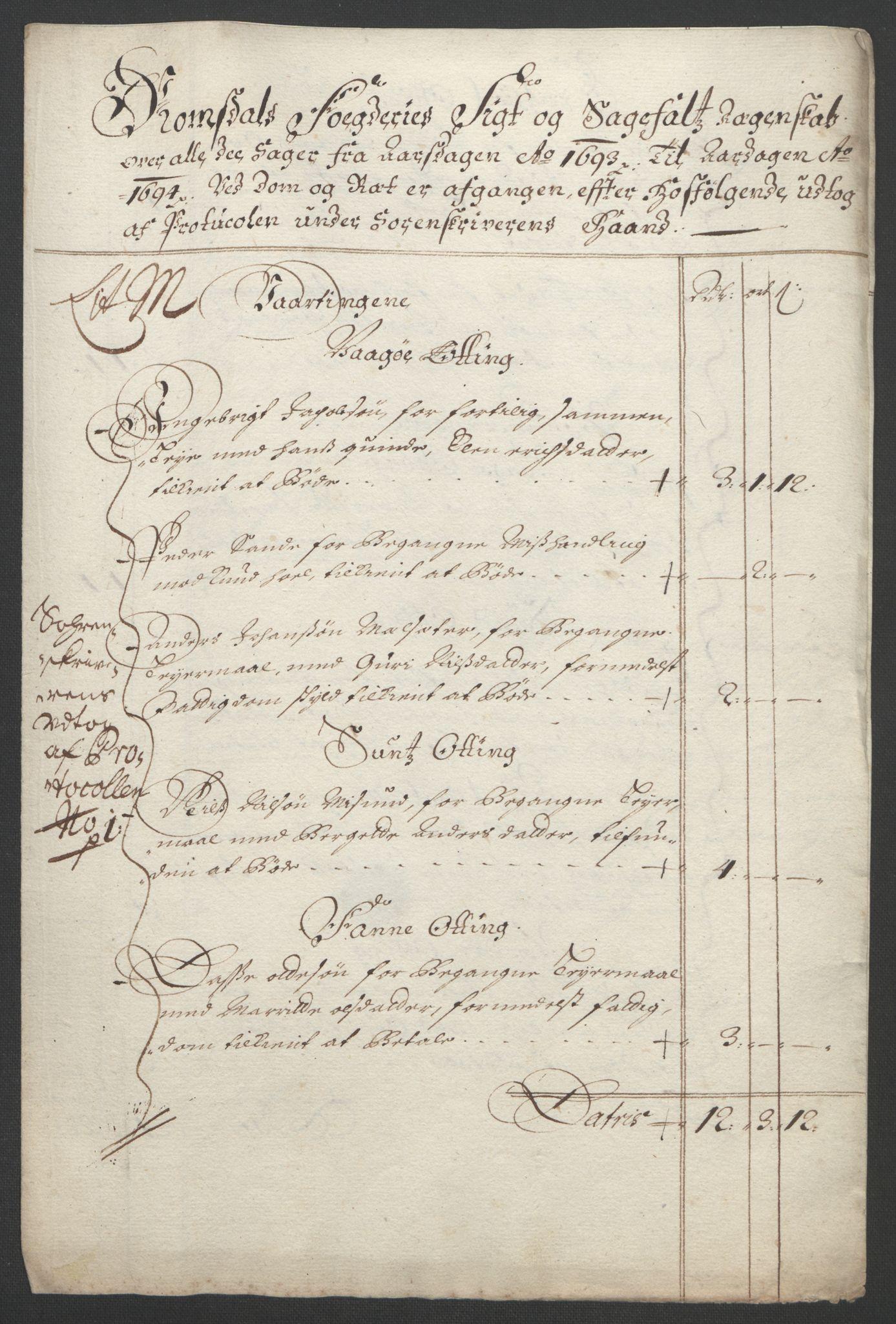 RA, Rentekammeret inntil 1814, Reviderte regnskaper, Fogderegnskap, R55/L3651: Fogderegnskap Romsdal, 1693-1694, s. 123