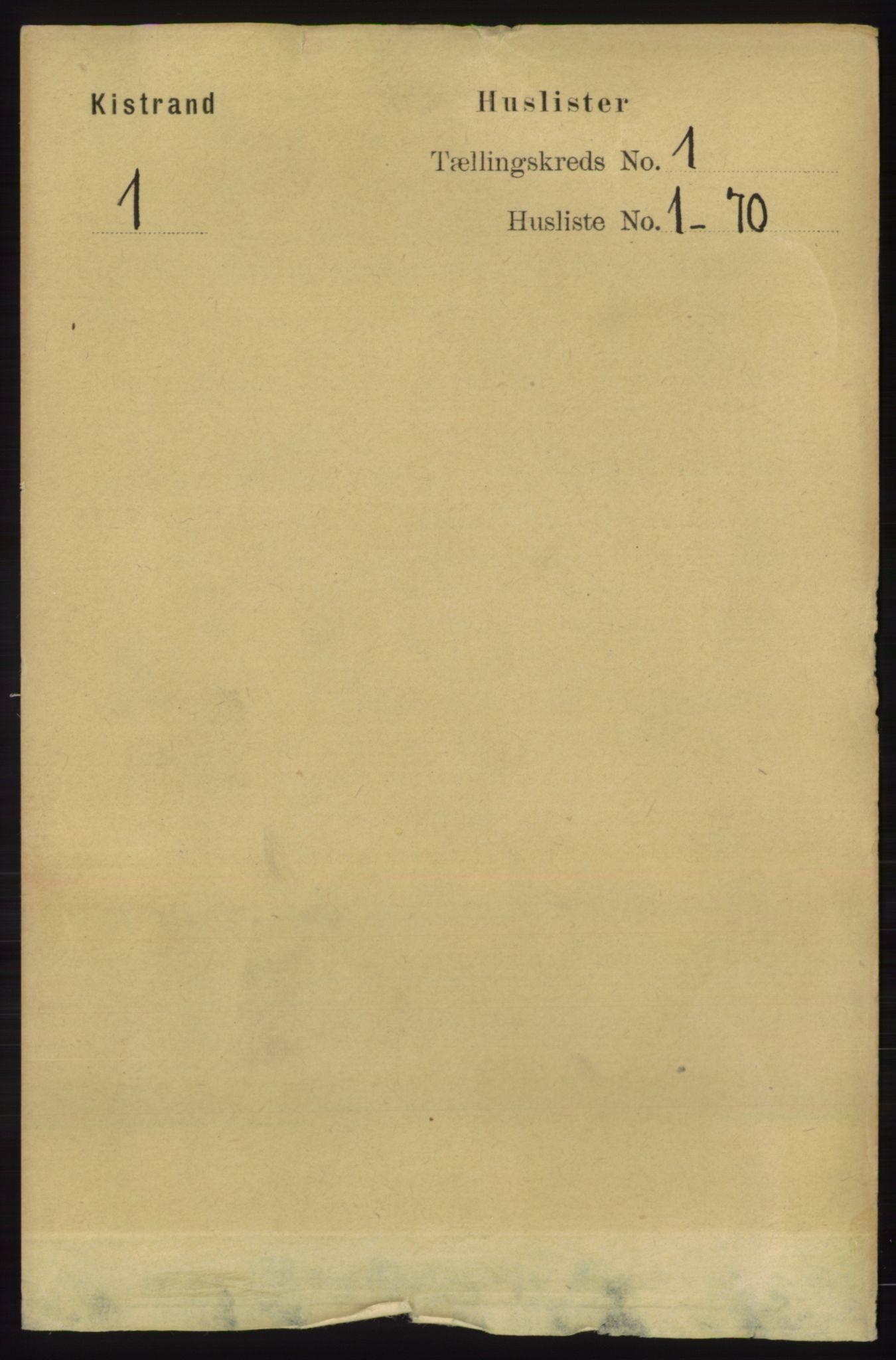 RA, Folketelling 1891 for 2020 Kistrand herred, 1891, s. 13