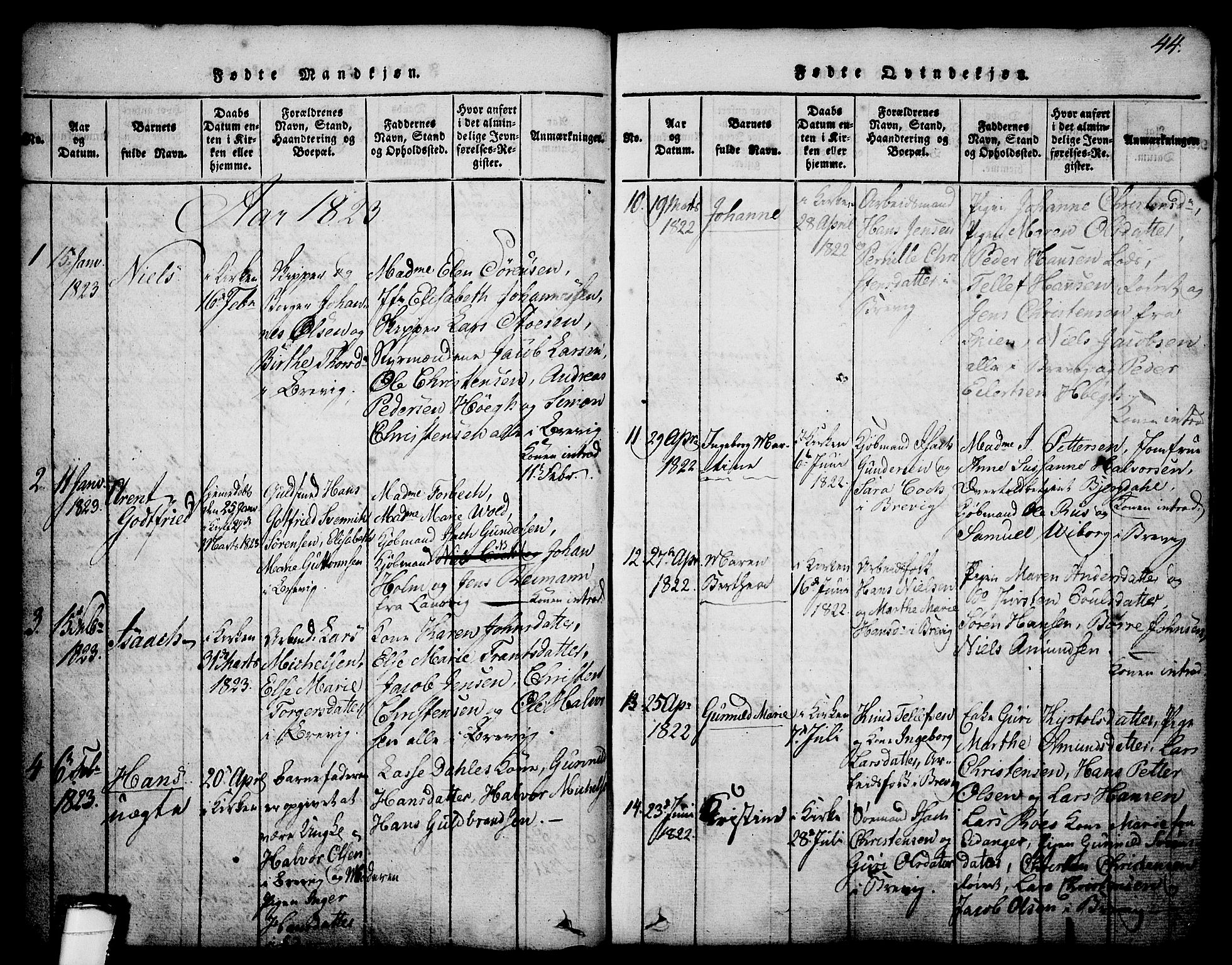 SAKO, Brevik kirkebøker, G/Ga/L0001: Klokkerbok nr. 1, 1814-1845, s. 44