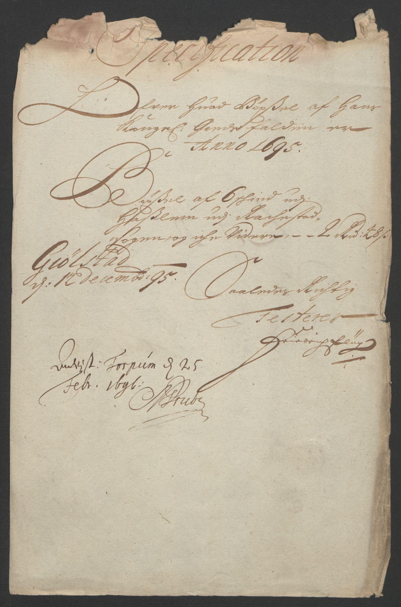 RA, Rentekammeret inntil 1814, Reviderte regnskaper, Fogderegnskap, R07/L0285: Fogderegnskap Rakkestad, Heggen og Frøland, 1695, s. 21