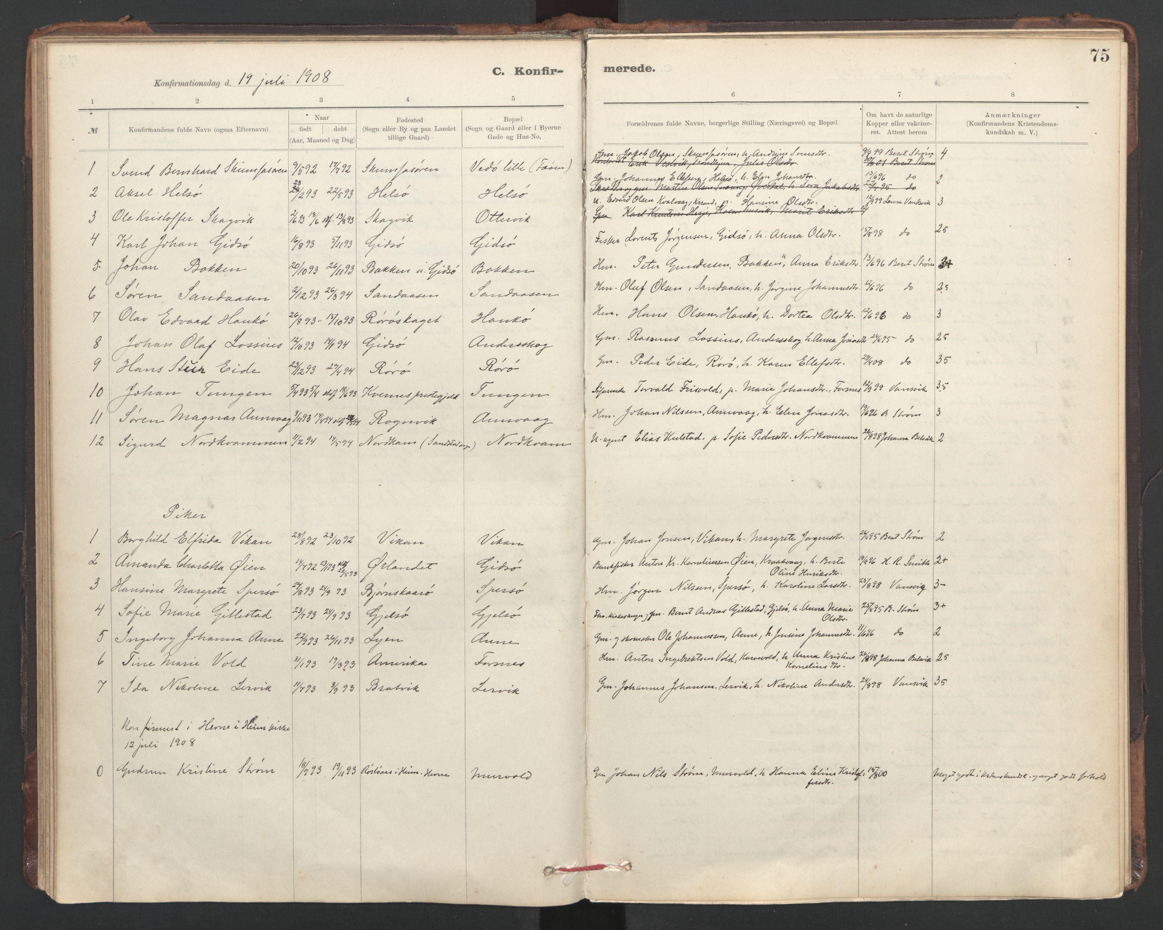 SAT, Ministerialprotokoller, klokkerbøker og fødselsregistre - Sør-Trøndelag, 635/L0552: Ministerialbok nr. 635A02, 1899-1919, s. 75