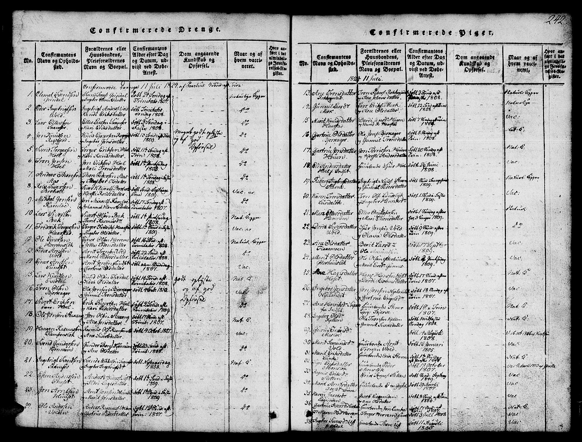 SAT, Ministerialprotokoller, klokkerbøker og fødselsregistre - Sør-Trøndelag, 674/L0874: Klokkerbok nr. 674C01, 1816-1860, s. 242