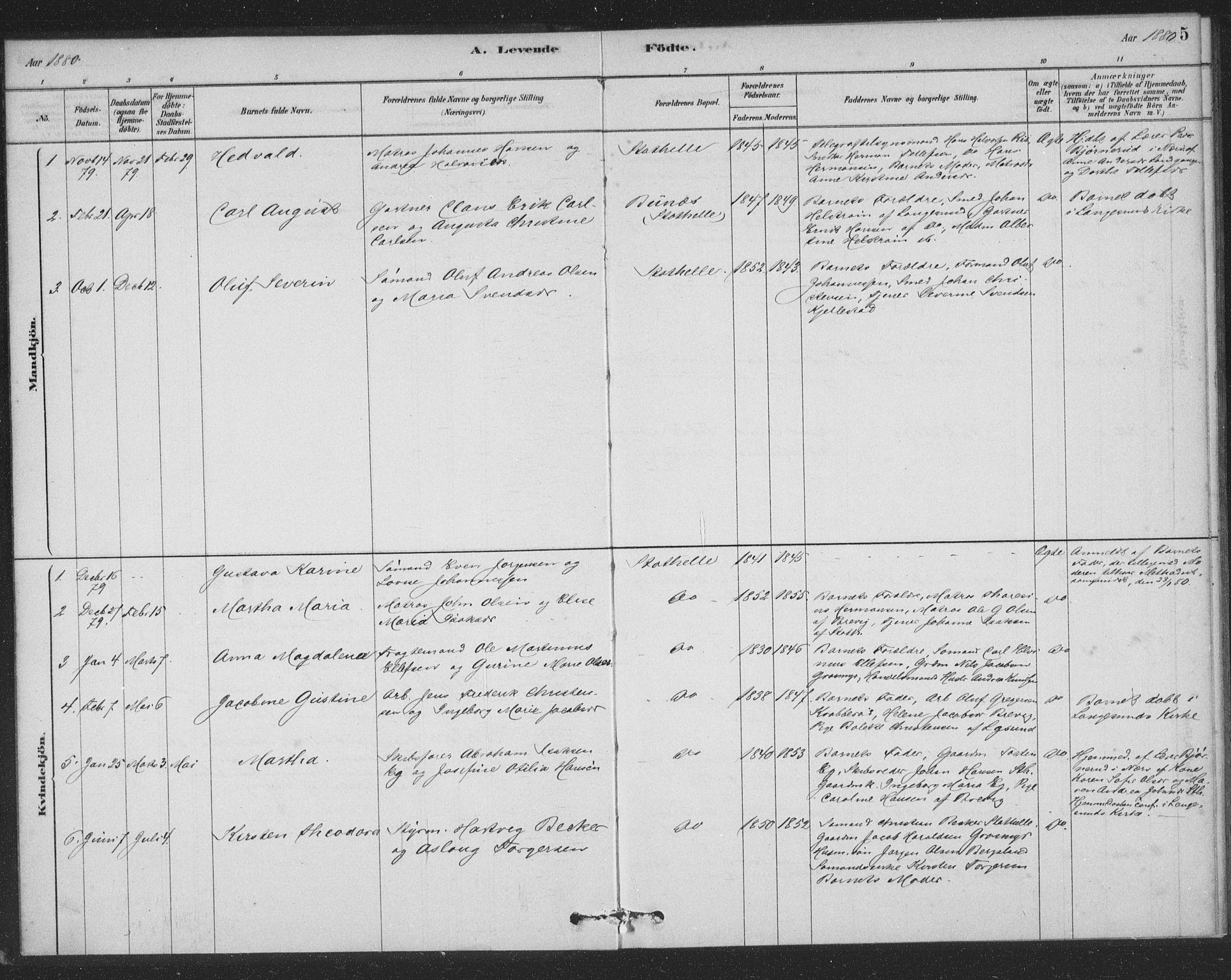 SAKO, Bamble kirkebøker, F/Fb/L0001: Ministerialbok nr. II 1, 1878-1899, s. 5