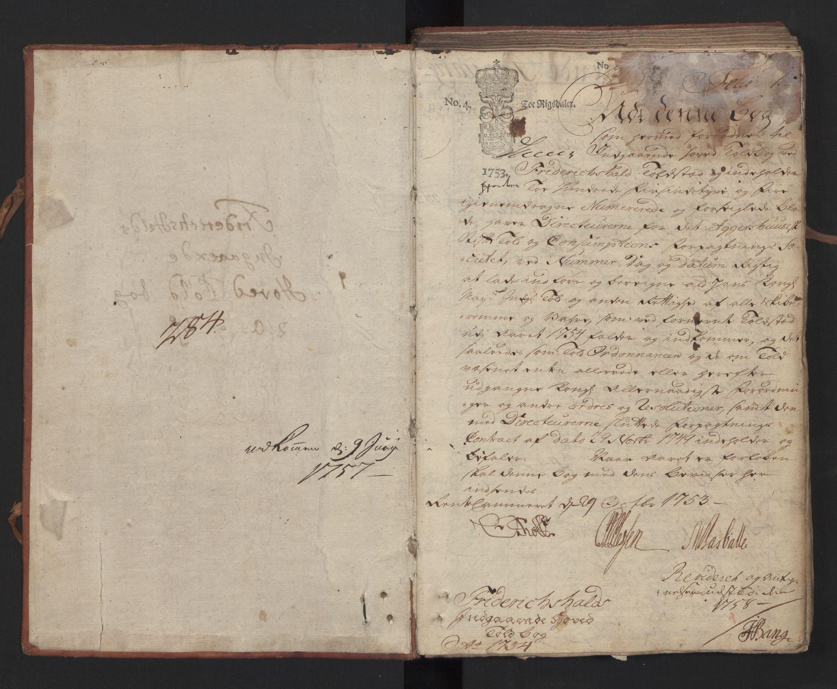 RA, Generaltollkammeret, tollregnskaper, R01/L0022: Tollregnskaper Fredrikshald, 1754