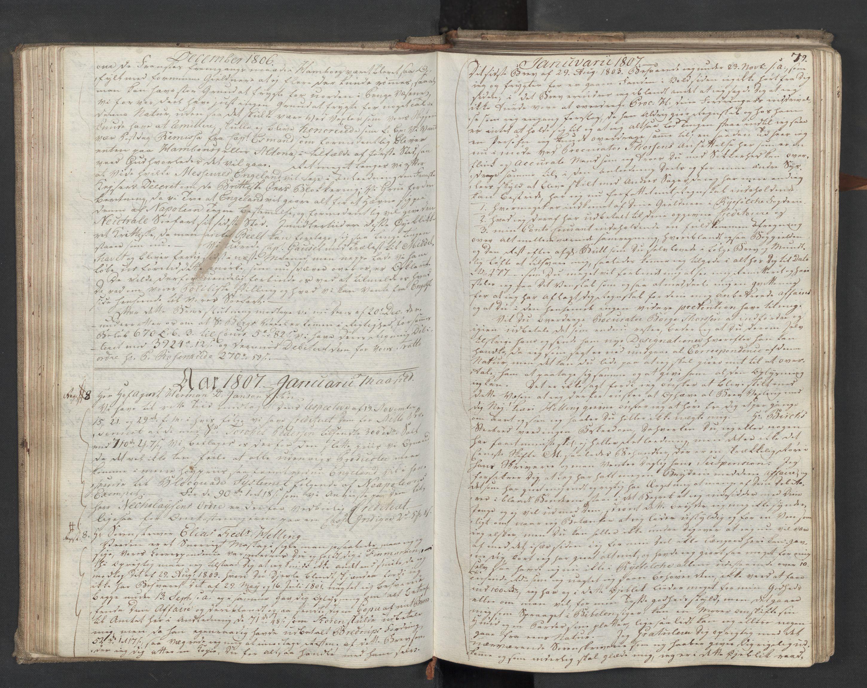 SAST, Pa 0003 - Ploug & Sundt, handelshuset, B/L0009: Kopibok, 1805-1816, s. 78b-79a