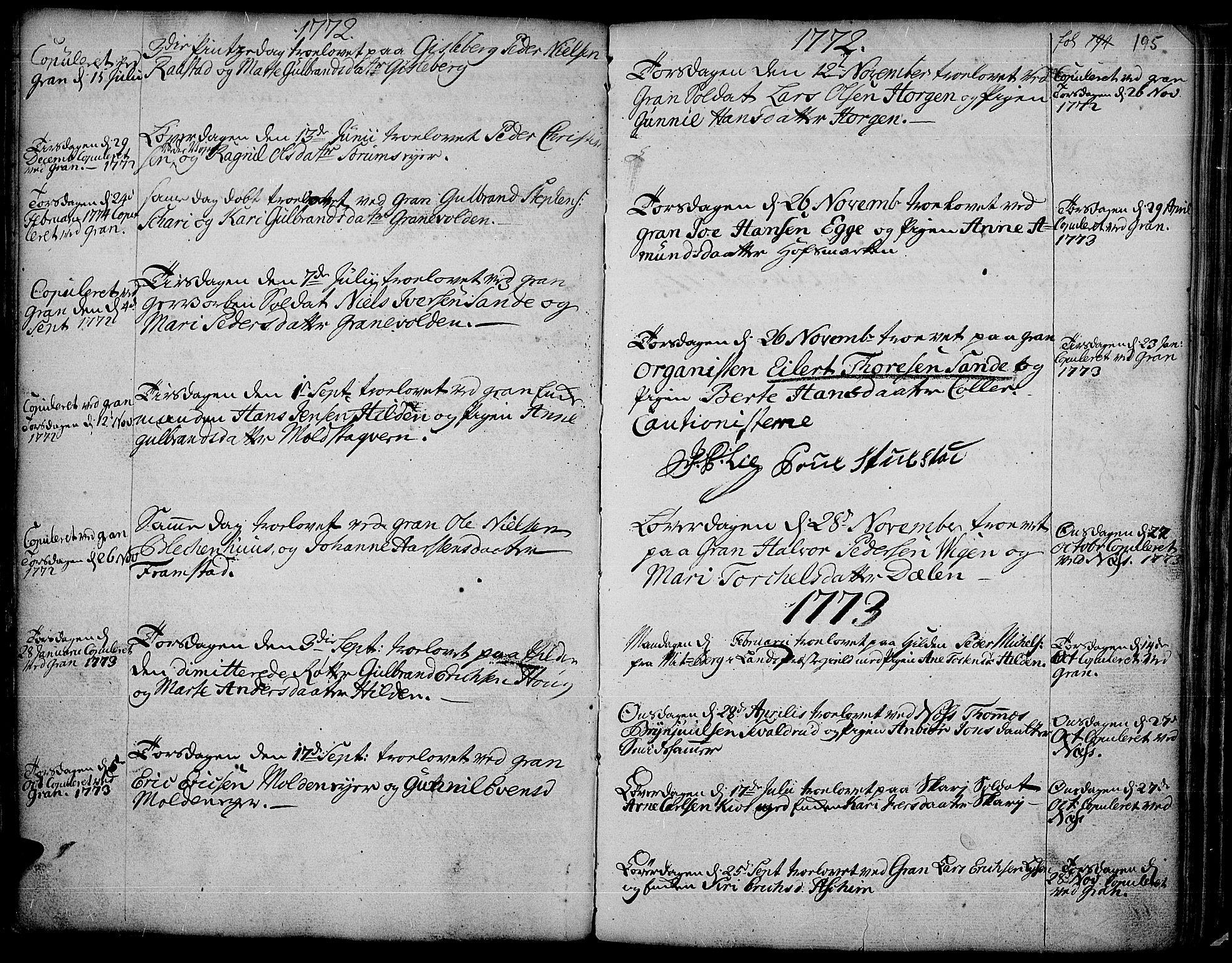 SAH, Gran prestekontor, Ministerialbok nr. 4, 1759-1775, s. 195