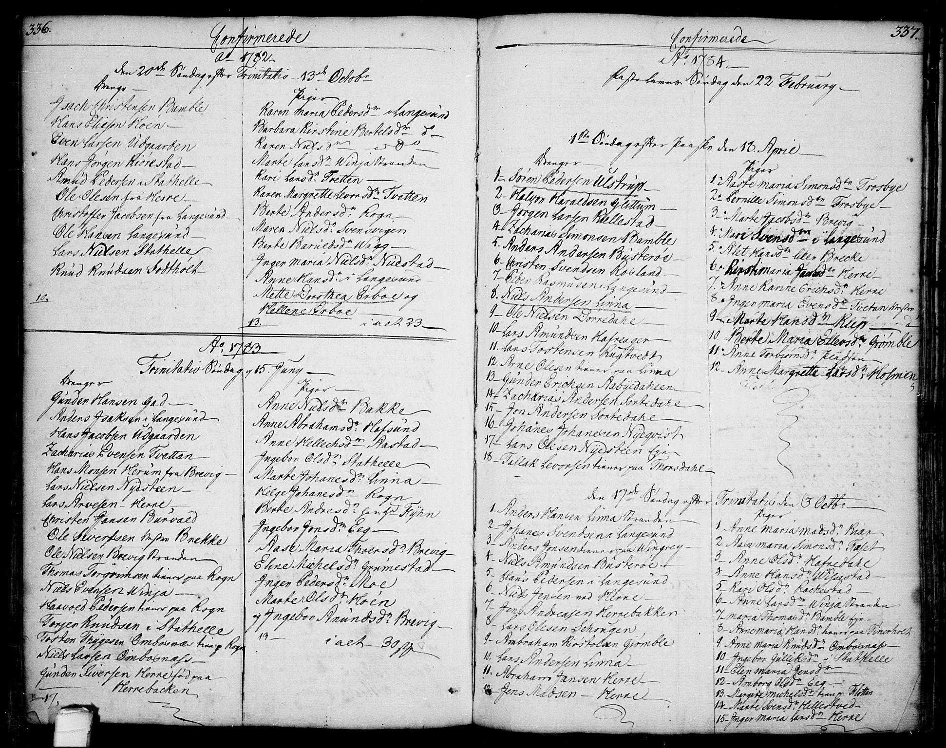 SAKO, Bamble kirkebøker, F/Fa/L0002: Ministerialbok nr. I 2, 1775-1814, s. 336-337
