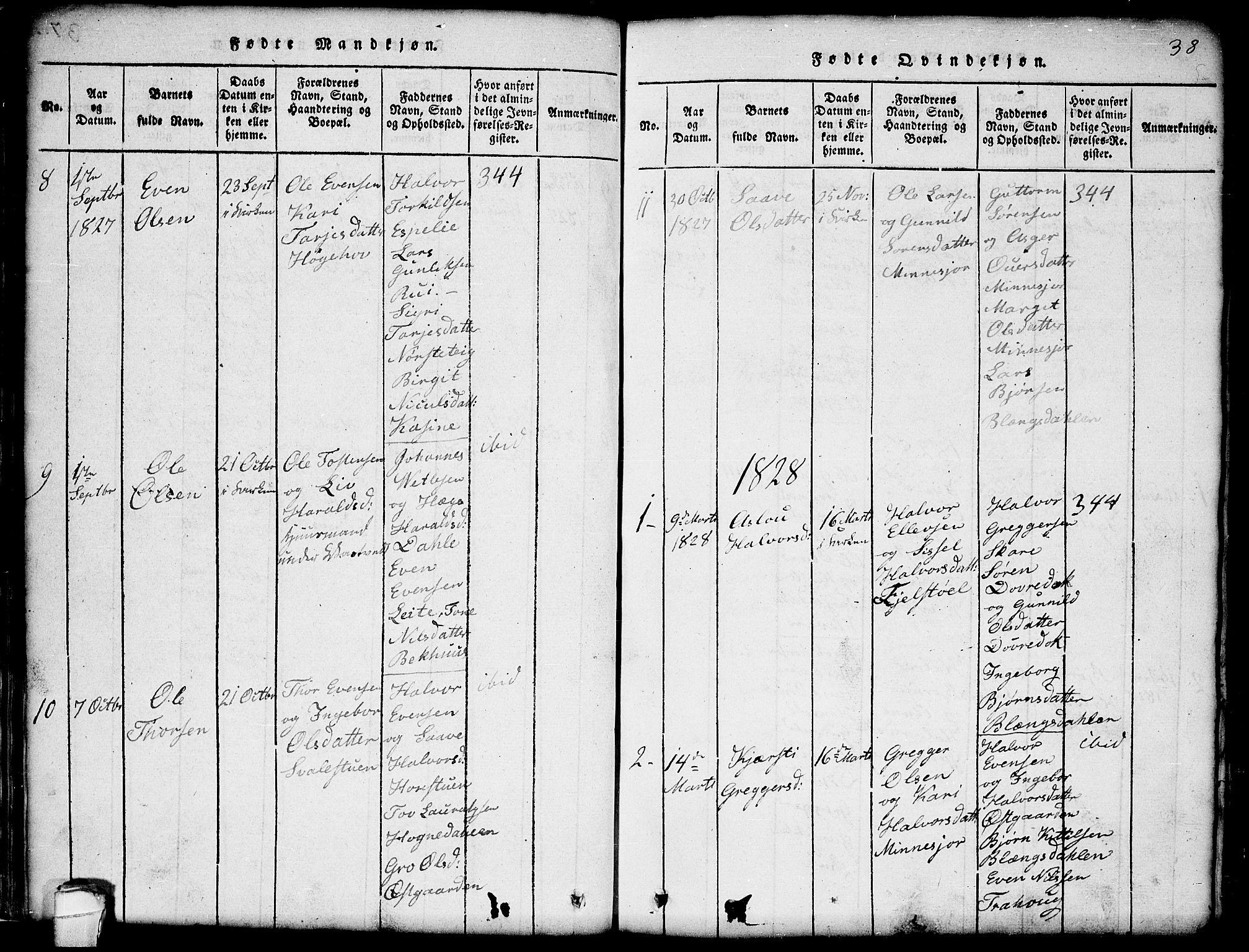 SAKO, Seljord kirkebøker, G/Gb/L0002: Klokkerbok nr. II 2, 1815-1854, s. 38