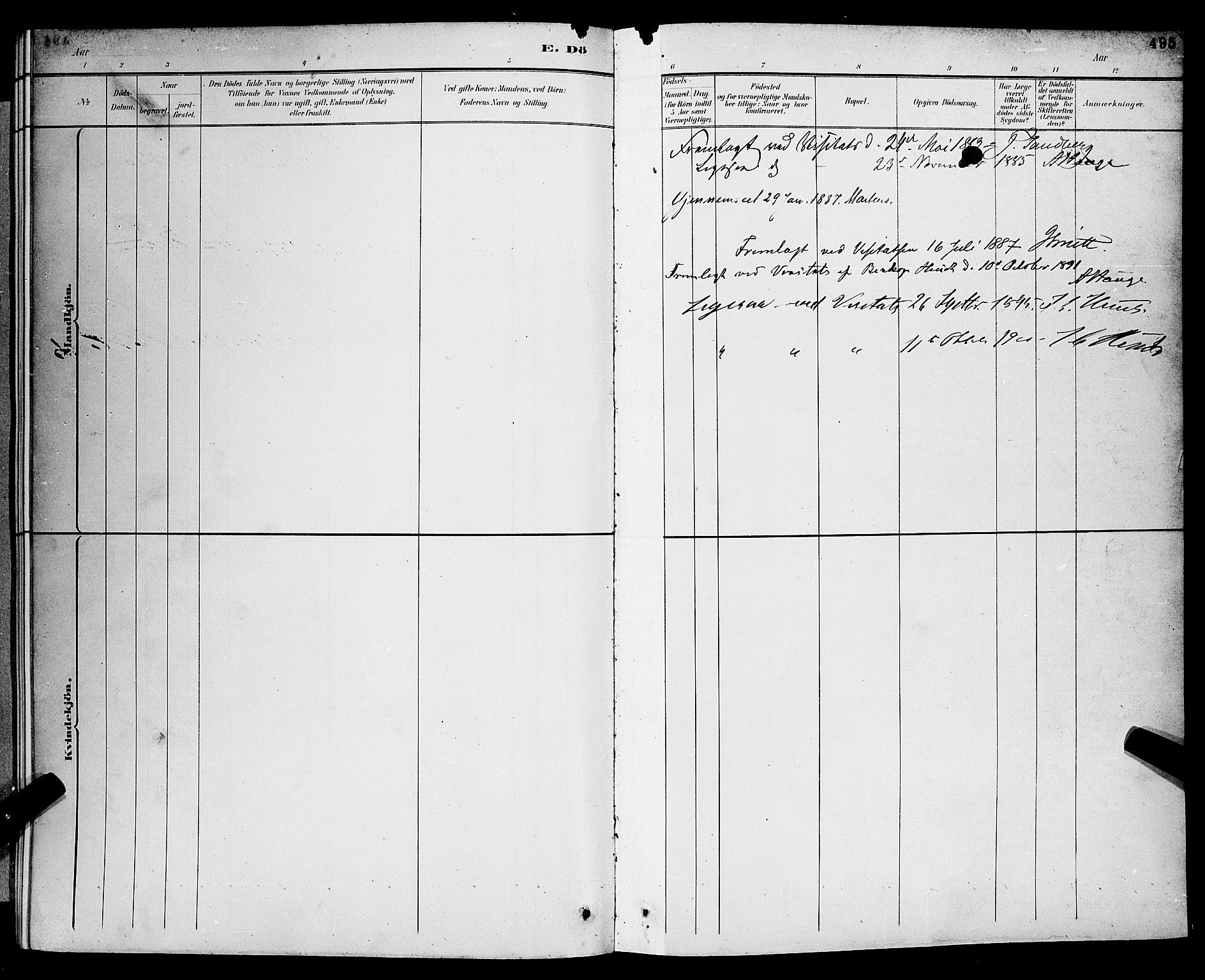 SAKO, Gjerpen kirkebøker, G/Ga/L0002: Klokkerbok nr. I 2, 1883-1900, s. 495