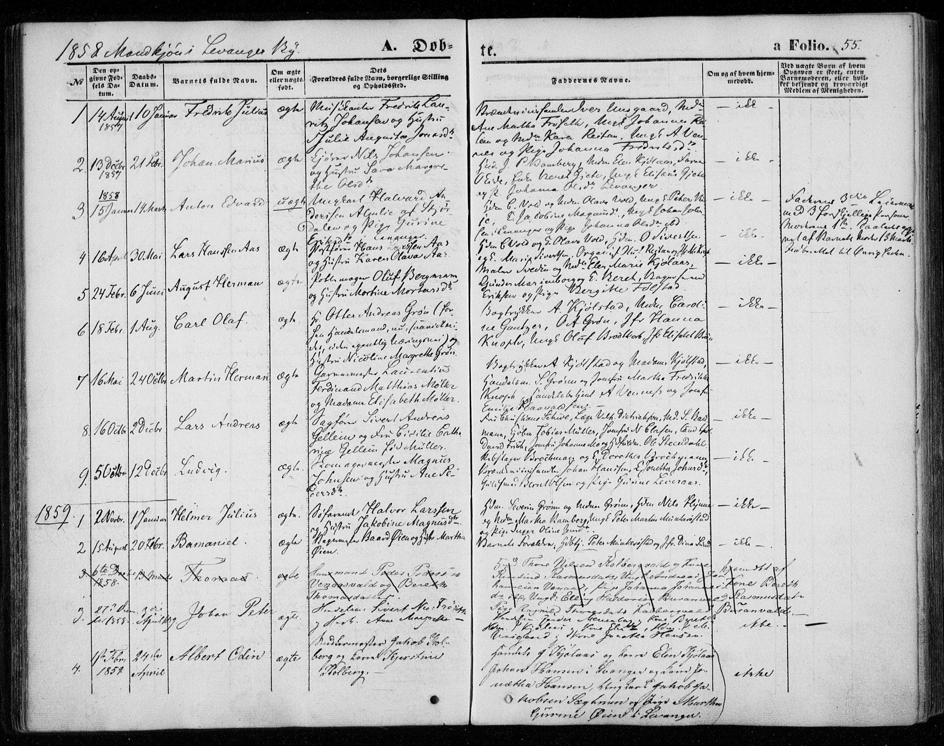 SAT, Ministerialprotokoller, klokkerbøker og fødselsregistre - Nord-Trøndelag, 720/L0184: Ministerialbok nr. 720A02 /1, 1855-1863, s. 55