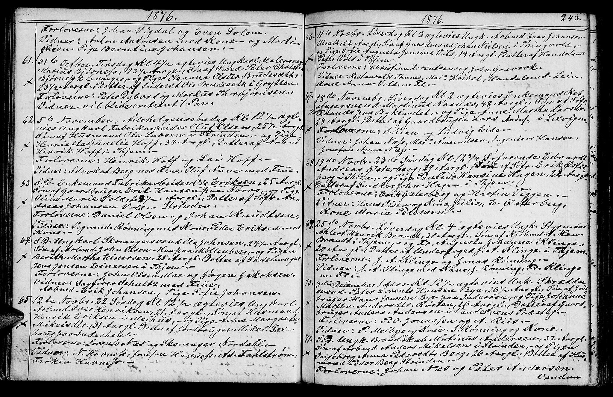 SAT, Ministerialprotokoller, klokkerbøker og fødselsregistre - Sør-Trøndelag, 602/L0142: Klokkerbok nr. 602C10, 1872-1894, s. 243