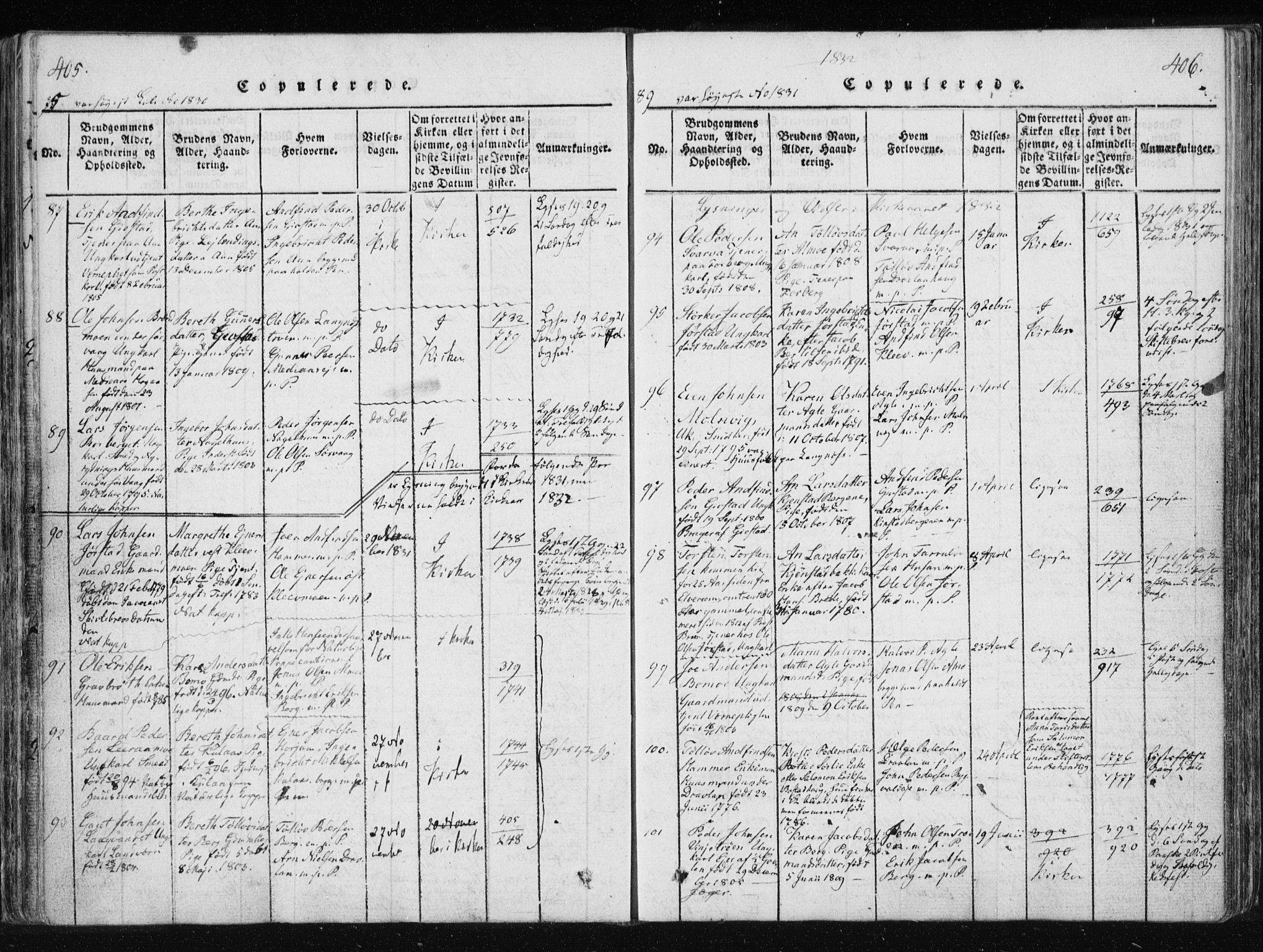 SAT, Ministerialprotokoller, klokkerbøker og fødselsregistre - Nord-Trøndelag, 749/L0469: Ministerialbok nr. 749A03, 1817-1857, s. 405-406