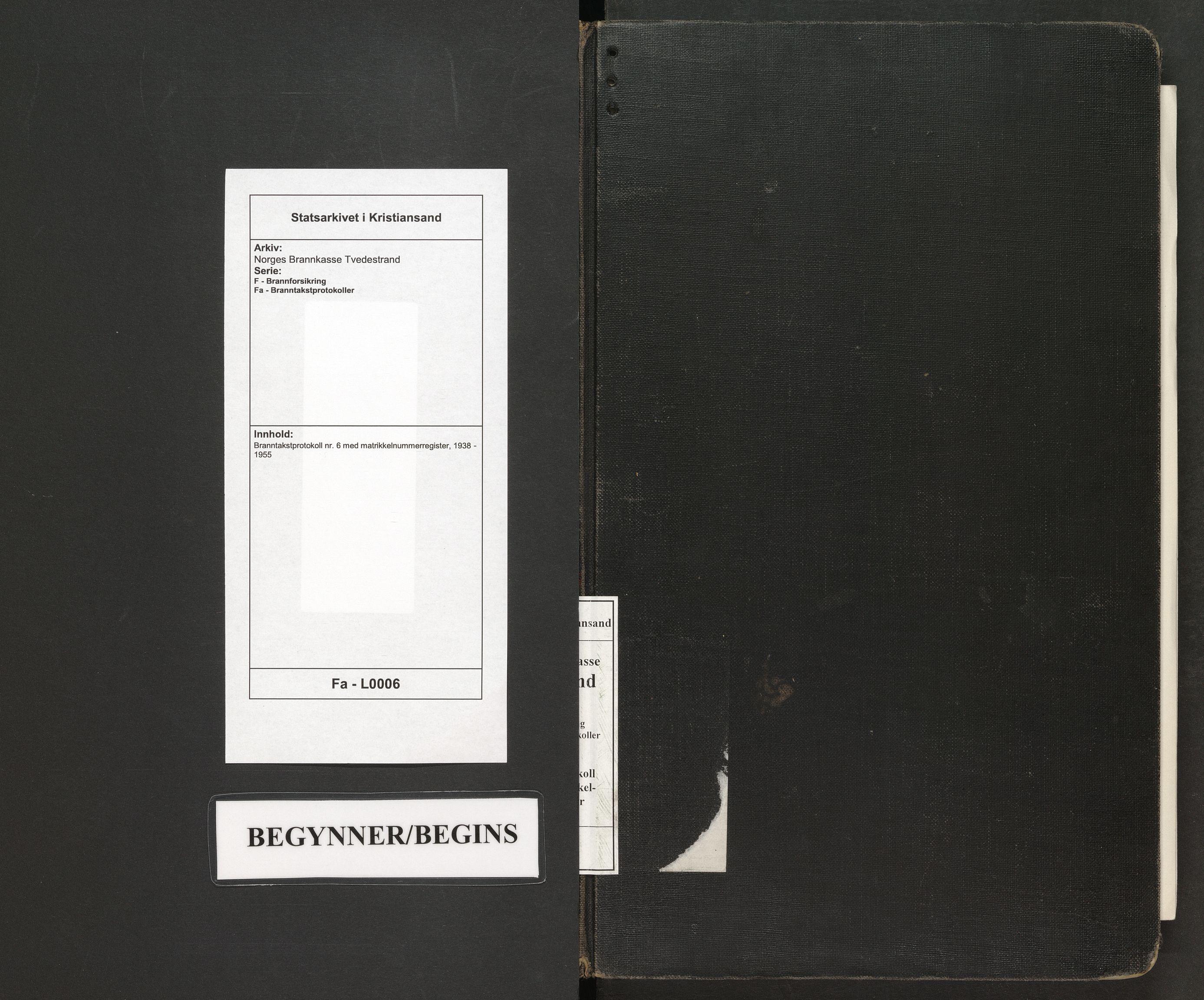 SAK, Norges Brannkasse Tvedestrand, F/Fa/L0006: Branntakstprotokoll nr. 6 med matrikkelnummerregister, 1938-1955