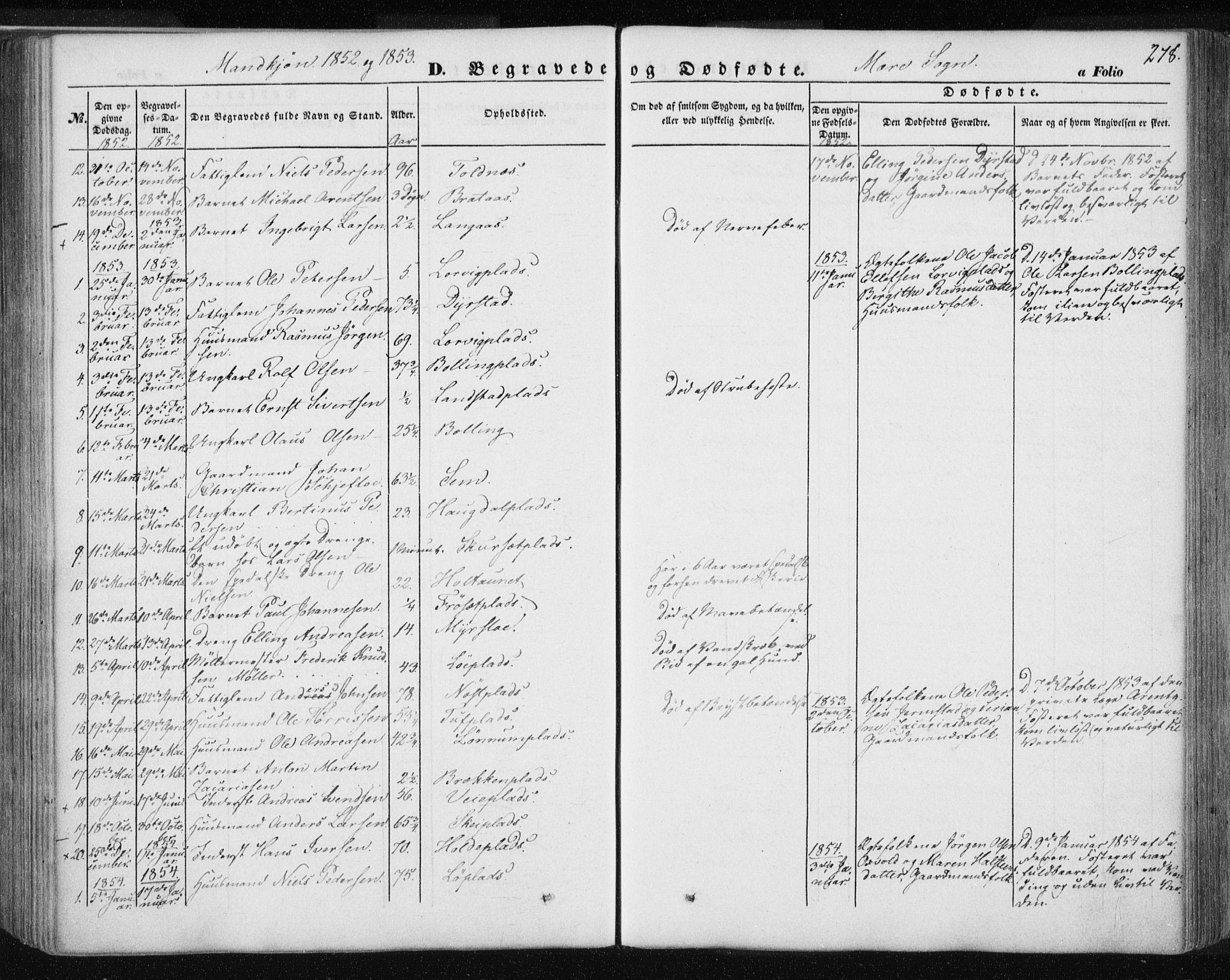 SAT, Ministerialprotokoller, klokkerbøker og fødselsregistre - Nord-Trøndelag, 735/L0342: Ministerialbok nr. 735A07 /1, 1849-1862, s. 278
