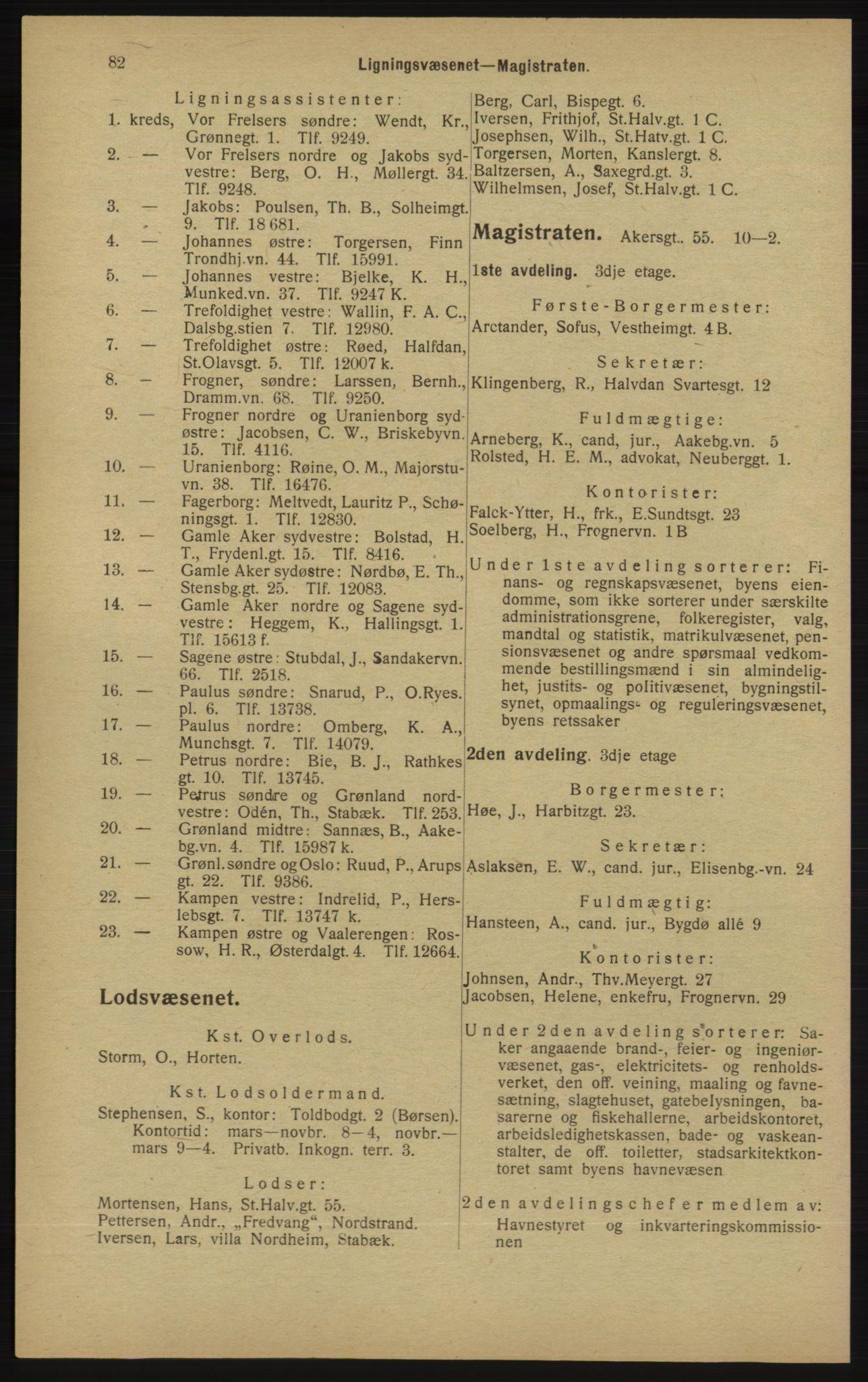 RA, Kristiania adressebok (publikasjon)*, 1913, s. 82