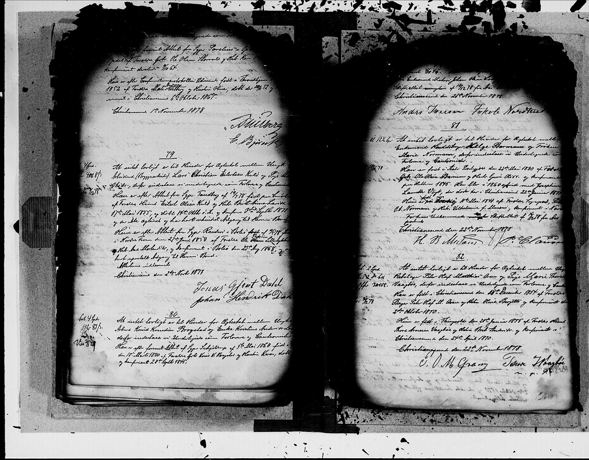 SAT, Arkivreferanse ukjent*, Forlovererklæringer nr. 19, 1875-1881, s. 87